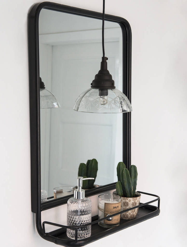 Mini Wall Mirrors Intended For Best And Newest Large Industrial Wall Mirror With Mini Shelf (View 6 of 20)
