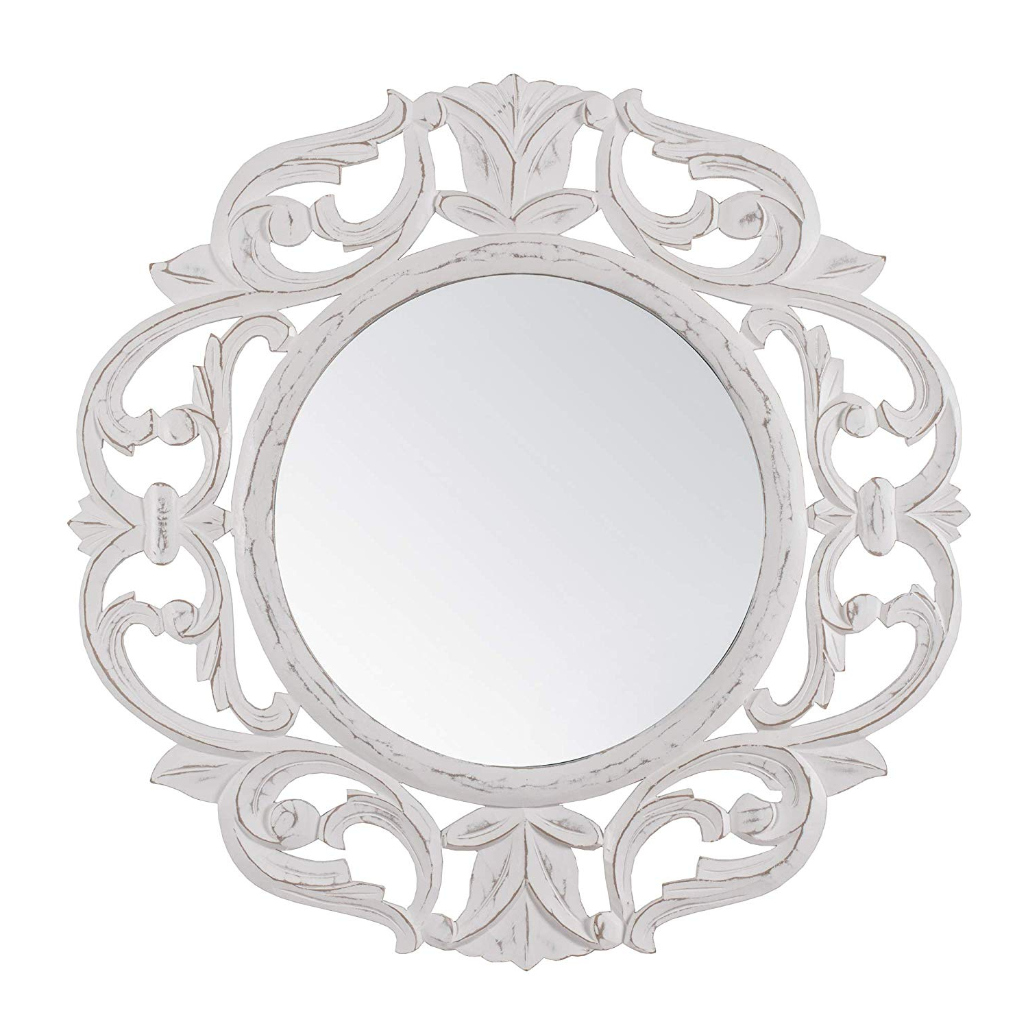 Minimalistic & Modern Carved Wall Mount Accent Mirror Perfect For Bathroom, Powder Room, Hallway, Living (View 15 of 20)