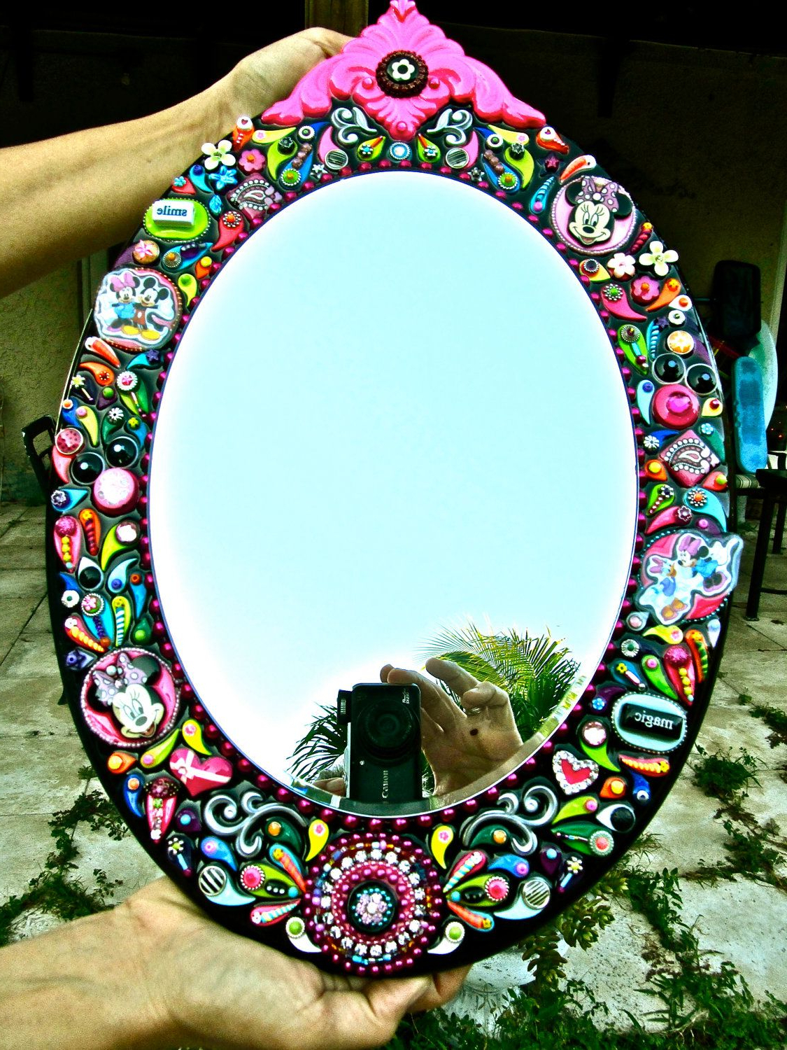 Minnie Mouse Mirror Embellished Disney Jeweled Ooak Hand Crafted Intended For Current Disney Wall Mirrors (View 5 of 20)
