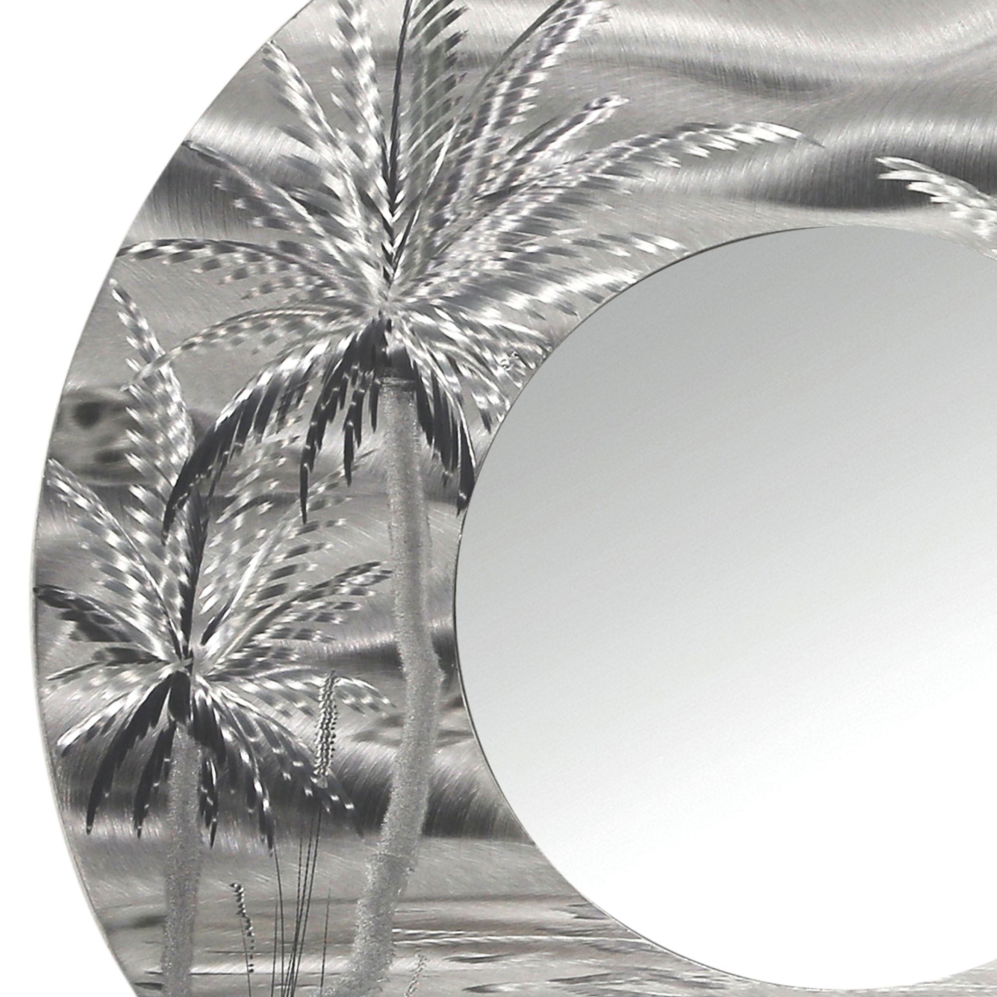 Mirror 106 – Modern Tropical Metal Wall Mirror – Silver Abstract Palm Tree  Metal Accent Art Regarding Recent Abstract Wall Mirrors (View 12 of 20)