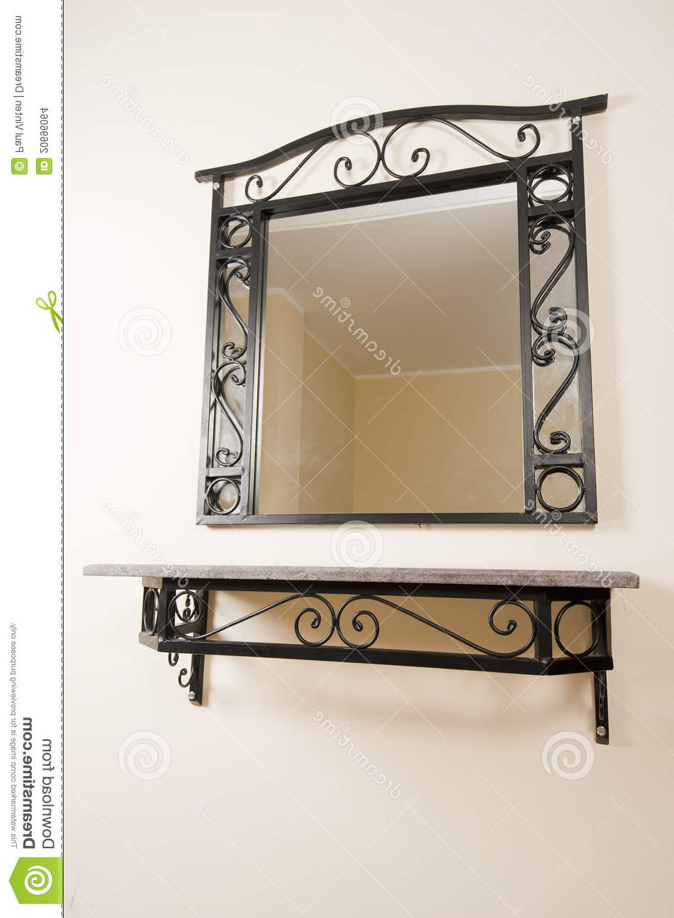 Mirror And Shelf On A Wall Stock Photo (View 14 of 20)