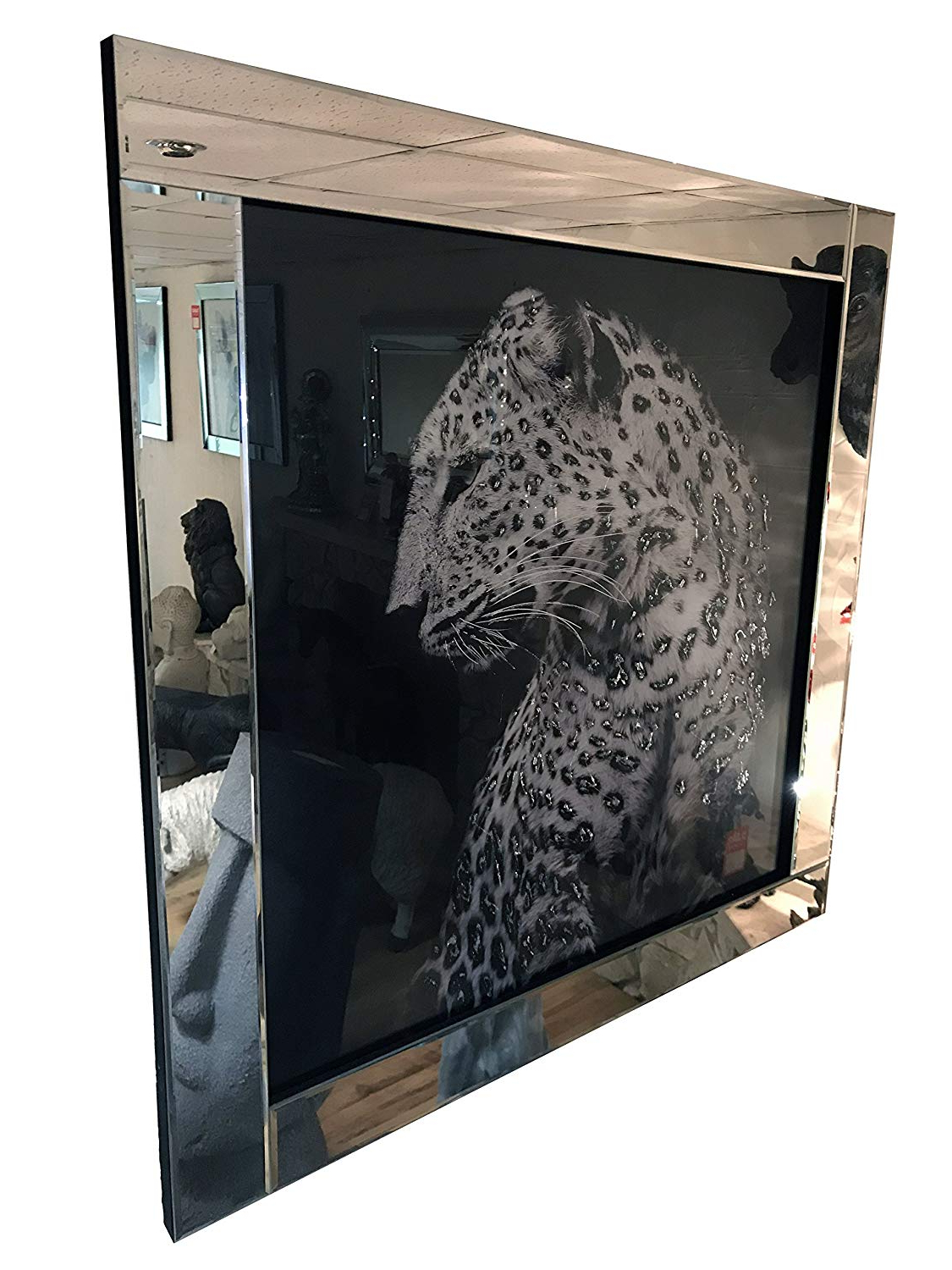 Mirror Frame Leopard Glitter Liquid Art Wall Hanging Picture: Amazon Regarding Most Popular Leopard Wall Mirrors (View 5 of 20)