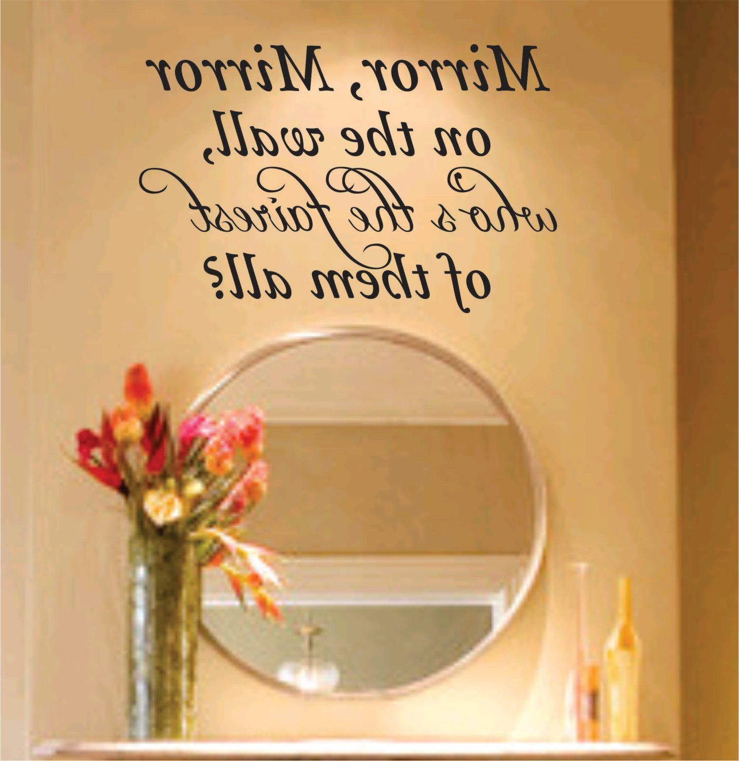 Mirror Mirror On The Wall Decal Sticker Family Art Graphic Home Within Widely Used Disney Wall Mirrors (View 7 of 20)