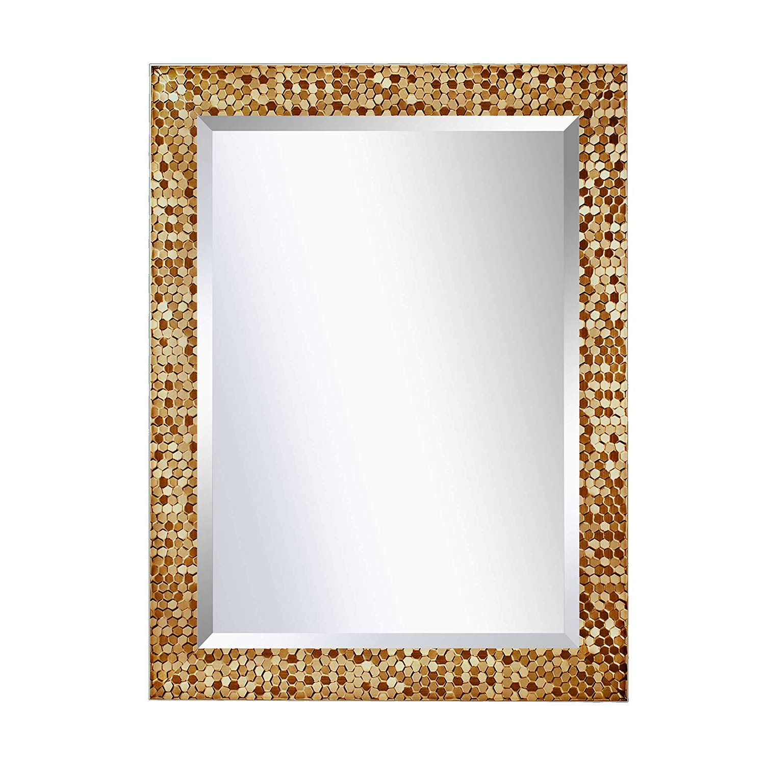 Mirror Trend Gold Mosaic Design Framed Decorative Wall Mirror Large Rectangle Mirror For Living Room, Bedroom, Vanity, Dining Room, Bathroom Hangs Regarding Well Known Large Decorative Wall Mirrors (View 3 of 20)