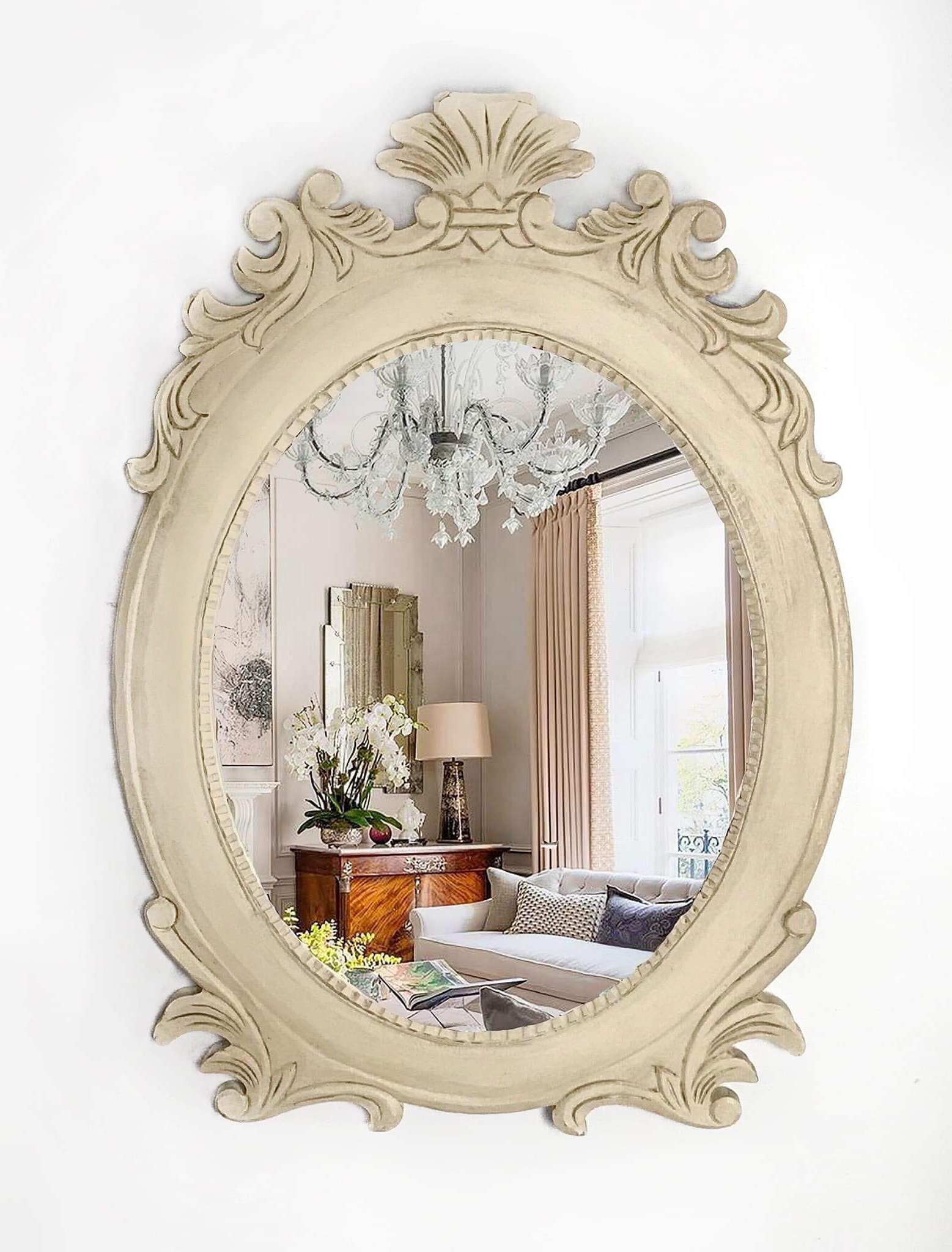 Mirror, Wall Mirror, Carved Mirror, Handpainted, Cream Mirror, Decorative Mirror, Hanging Mirror, Framed Mirror, Oval Mirror, Rustic Mirror In Well Liked Hand Painted Wall Mirrors (View 8 of 20)