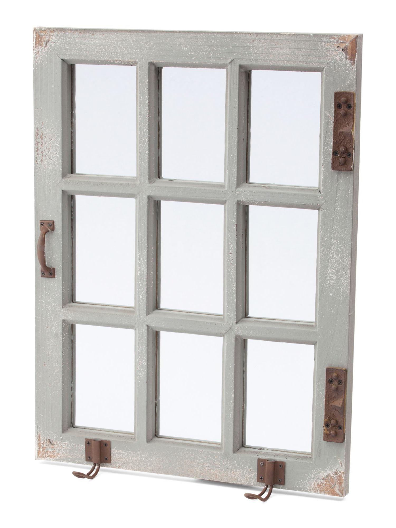Mirror With Hooks, Window With Regard To 2 Piece Kissena Window Pane Accent Mirror Sets (View 14 of 20)
