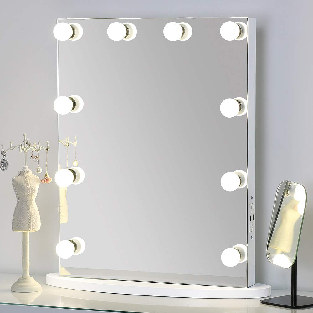 Missmii Flameless Hollywood Lighted Makeup Vanity Mirror With Lights,tabletop Or Wall Mirrors For Bedroom,professional Illuminated Cosmetic Mirror Led For Newest Wall Mirrors With Light Bulbs (View 8 of 20)