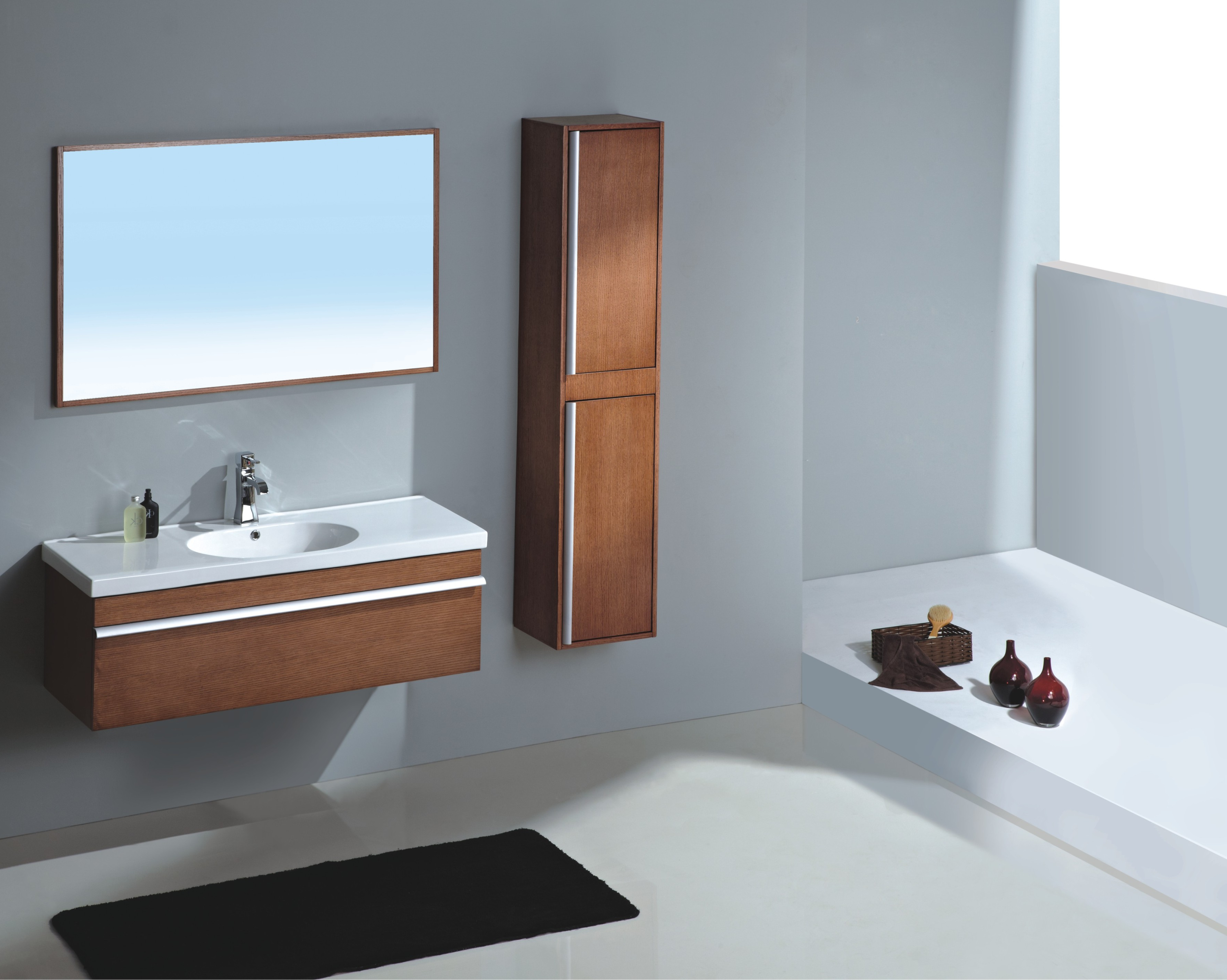 Modern Bathroom Vanity Set – Paderno With Recent Contemporary Bathroom Wall Mirrors (View 18 of 20)