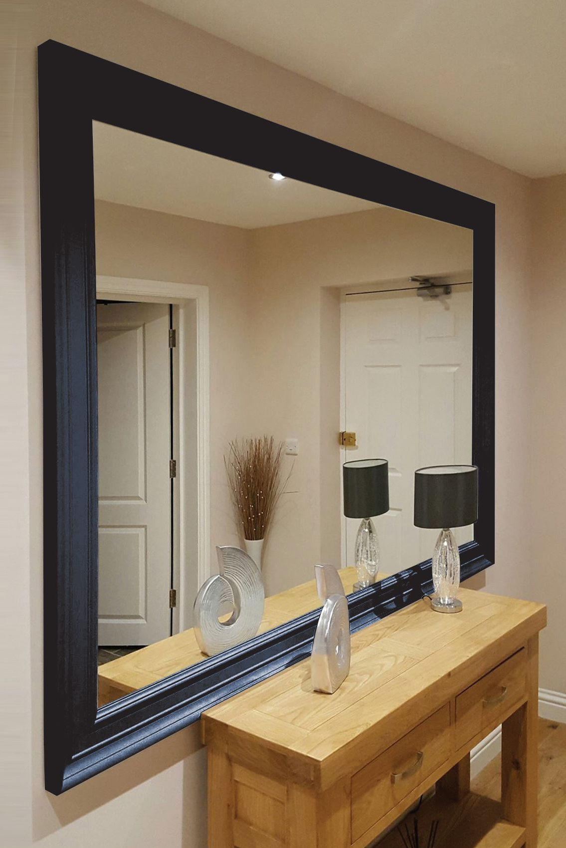 Modern Black Wall Mirrors For 2020 Large Modern Oxford Black Wall Mirror 206X145Cm In  (View 8 of 20)