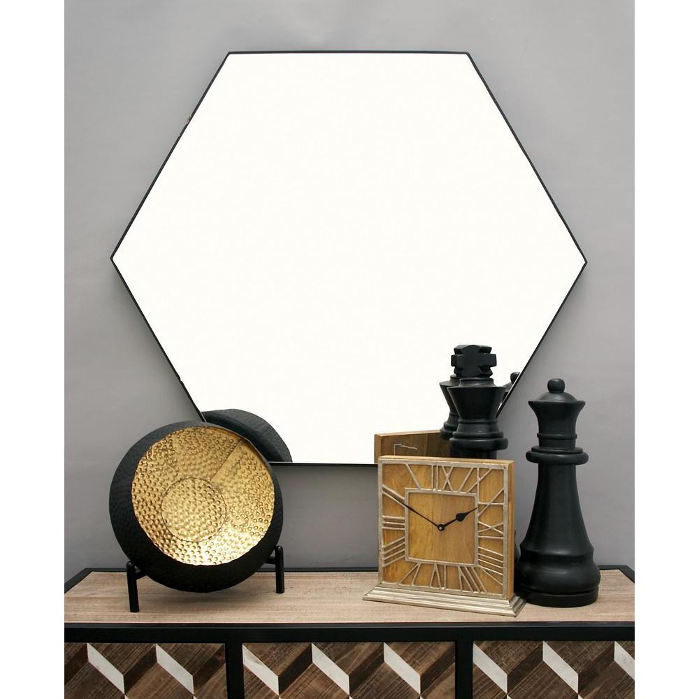 Modern Black Wall Mirrors Regarding Fashionable Litton Lane 41 In. X 35 In. Modern Hexagonal Black Wall (Gallery 12 of 20)