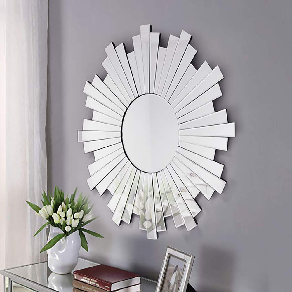 Modern & Contemporary Beveled Overmantel Mirrors In Trendy Modern Geometric Bevelled Mirrored Frame Art Deco Sliver Round Mirror Sunburst Effect Sidney Accent Mirror (Gray) (View 17 of 20)