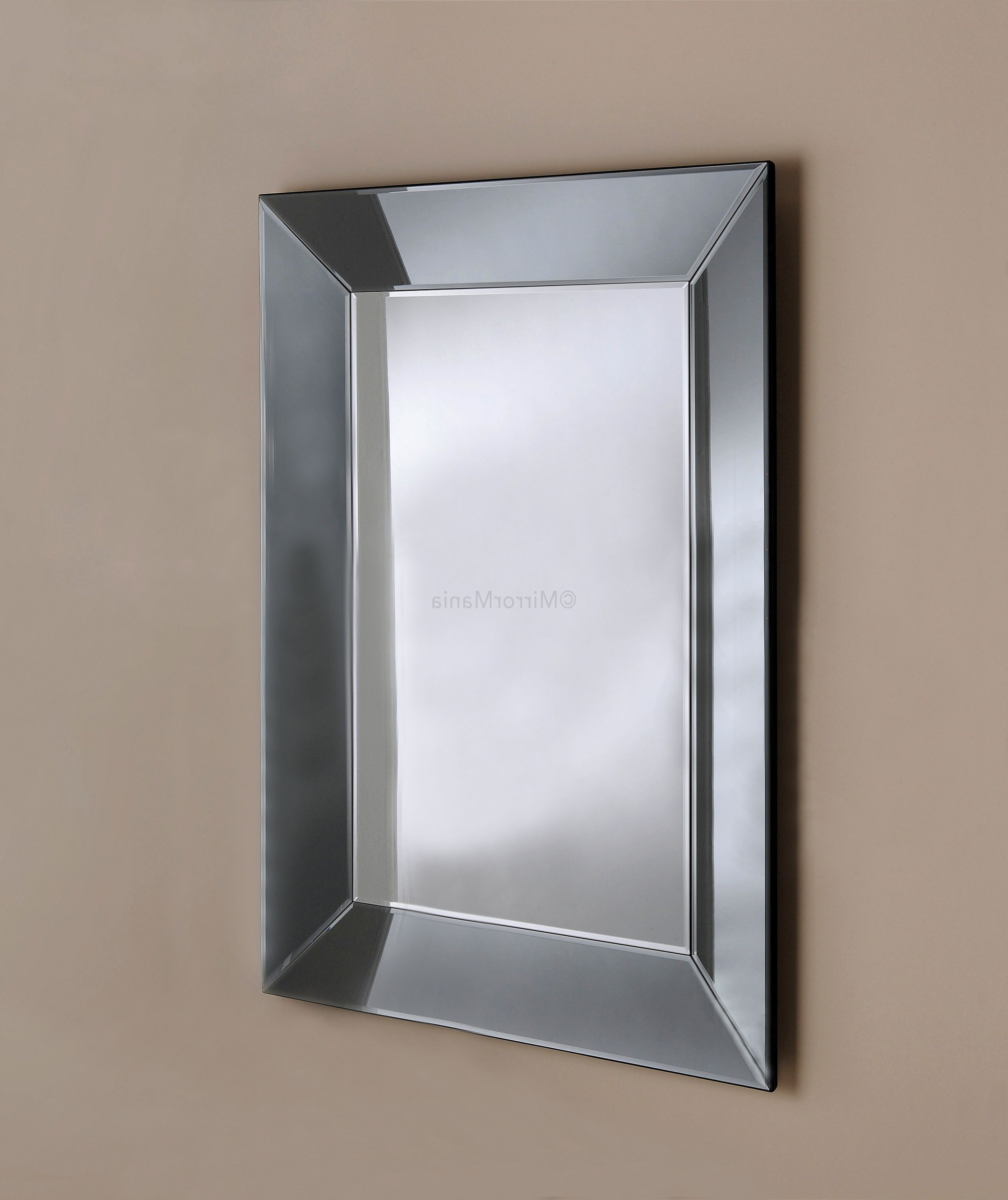 Modern & Contemporary Beveled Overmantel Mirrors With Most Recent Zeus Handmade Modern Bevelled Tray Mirror With Grey Tinted (View 16 of 20)