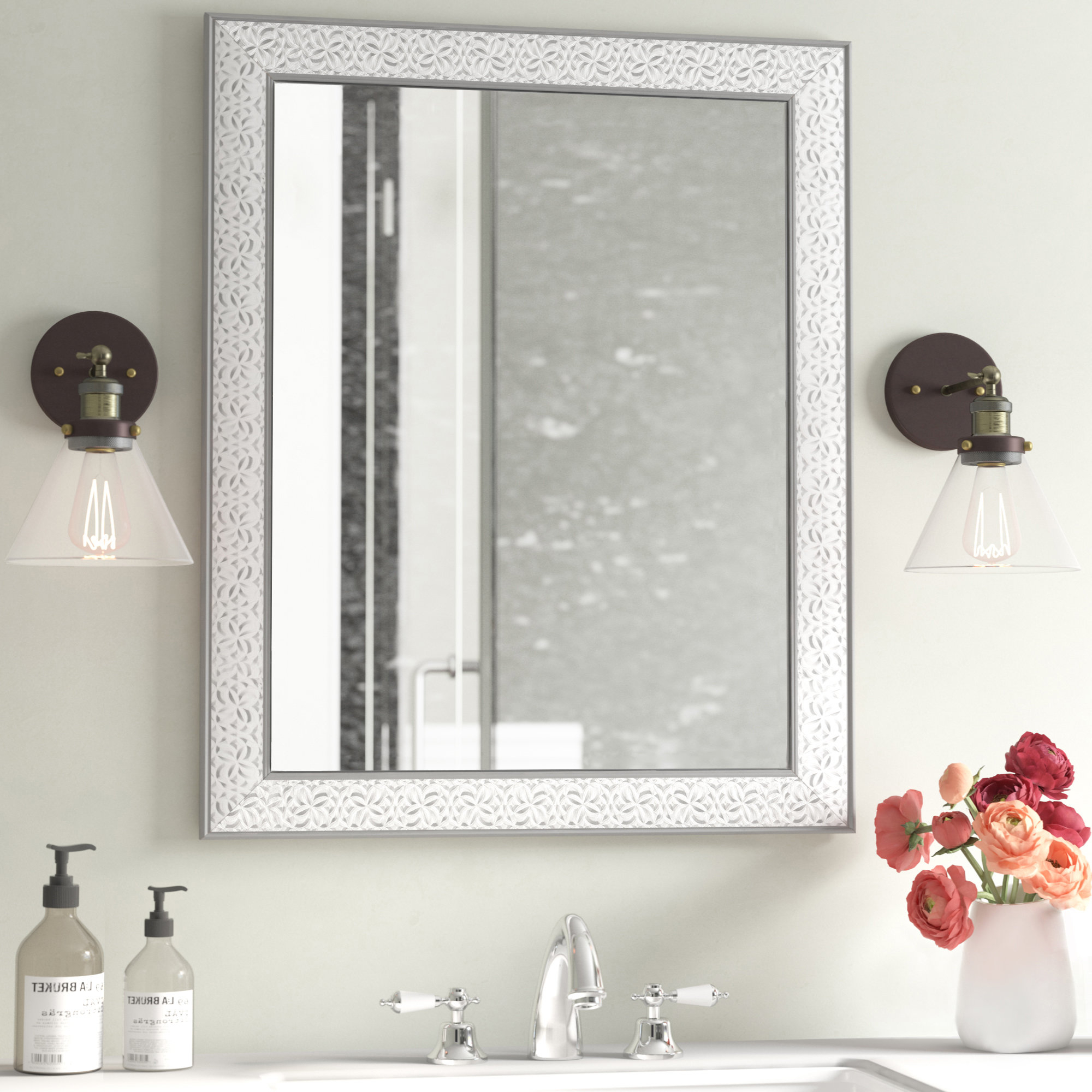 Modern & Contemporary Beveled Wall Mirrors Pertaining To Best And Newest Encanto Modern & Contemporary Beveled Bathroom/vanity Mirror (View 5 of 20)