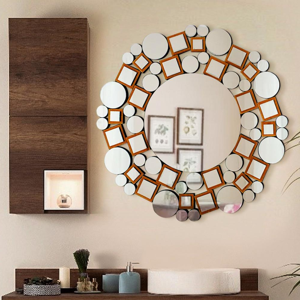 Modern Decorative Wall Mirrors With Regard To Fashionable 31.5 In. L X 31.5 In. W Handmade Modern Design Decorative Mosaic Mirror (Gallery 5 of 20)