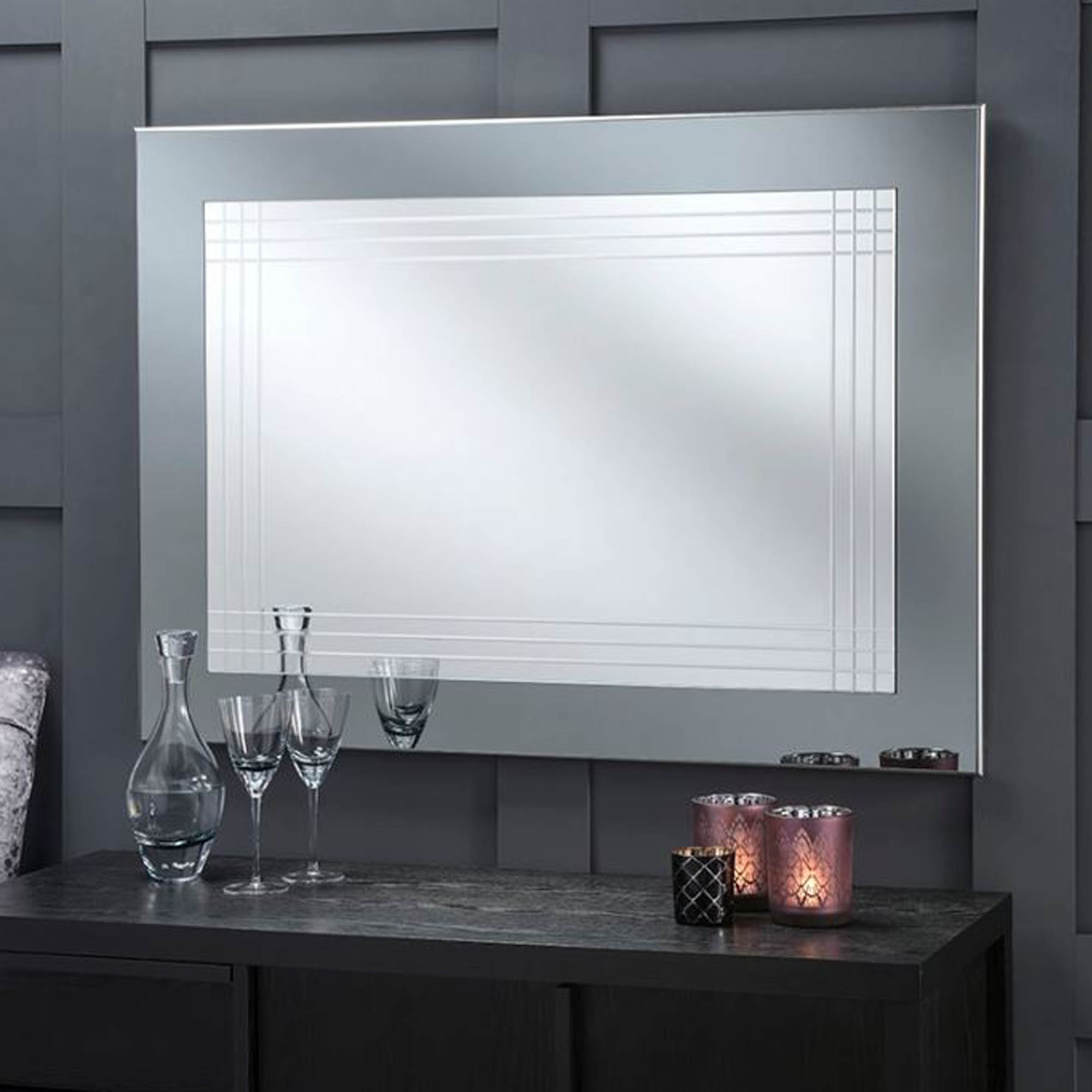 Modern Large Wall Mirrors Inside Most Recent Large Grey Framed Contemporary Wall Mirror (View 19 of 20)