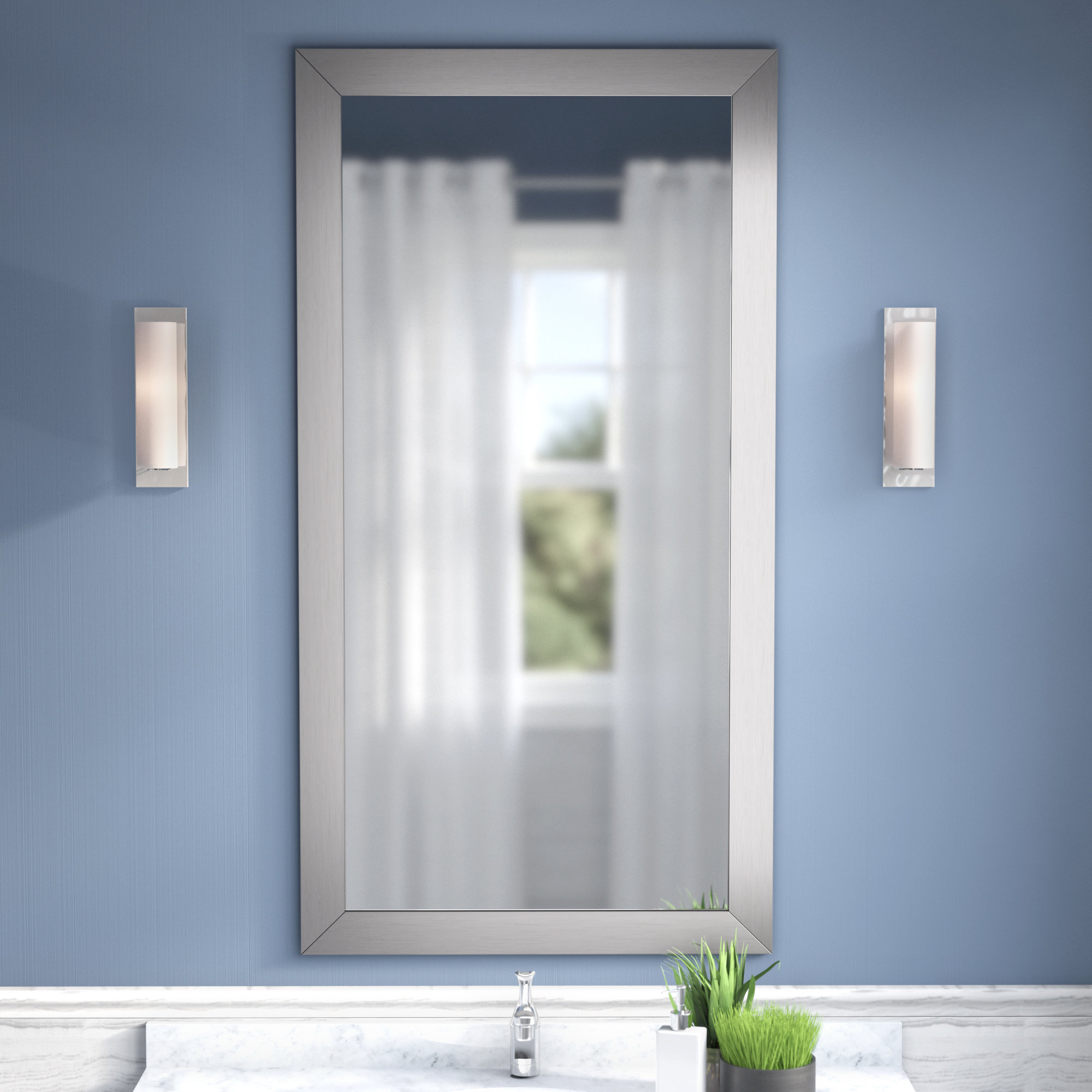 Modern Large Wall Mirrors Pertaining To Preferred Hogge Modern Brushed Nickel Large Frame Wall Mirror (Gallery 16 of 20)