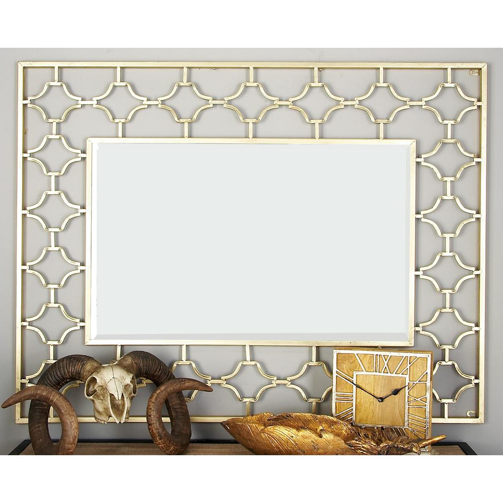 Modern Rectangle Wall Mirrors Intended For Latest Modern Rectangular Gold Quatrefoil Wall Mirror (View 6 of 20)