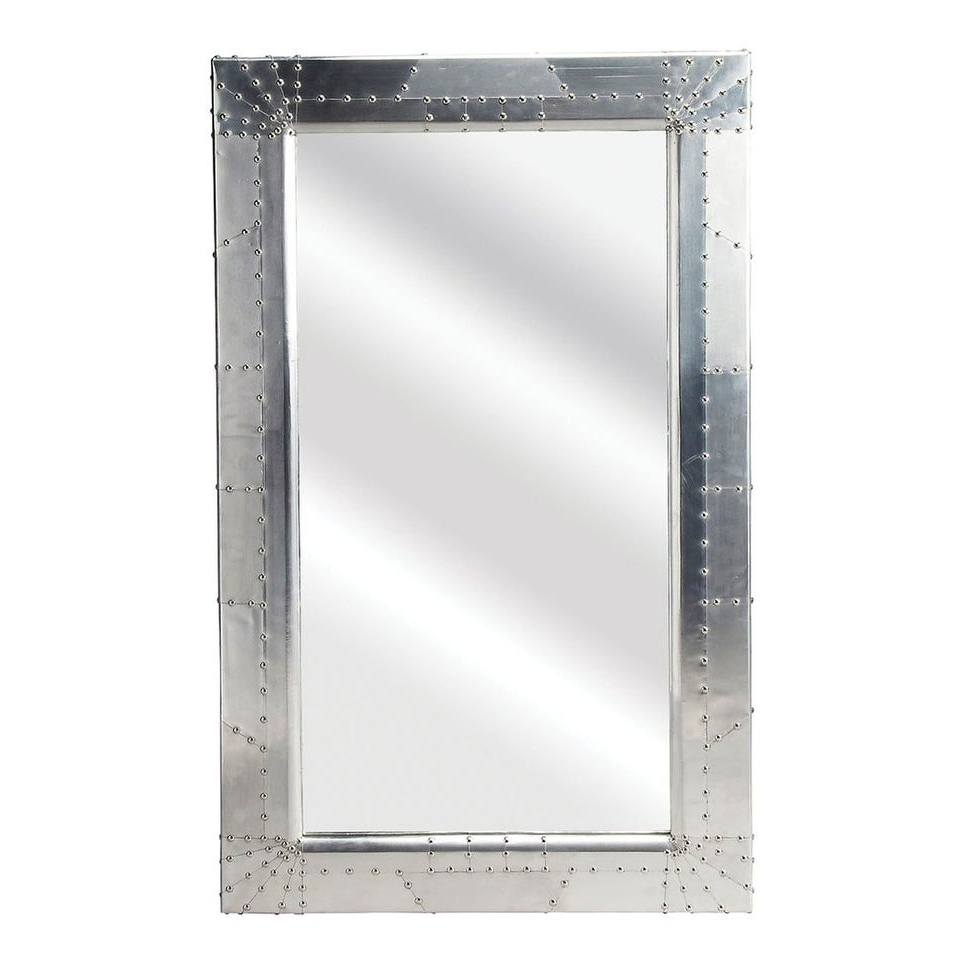 Modern Rectangular Aluminium Midway Aviator Wall Mirror – Silver – N/a For Well Known Modern Rectangle Wall Mirrors (View 20 of 20)