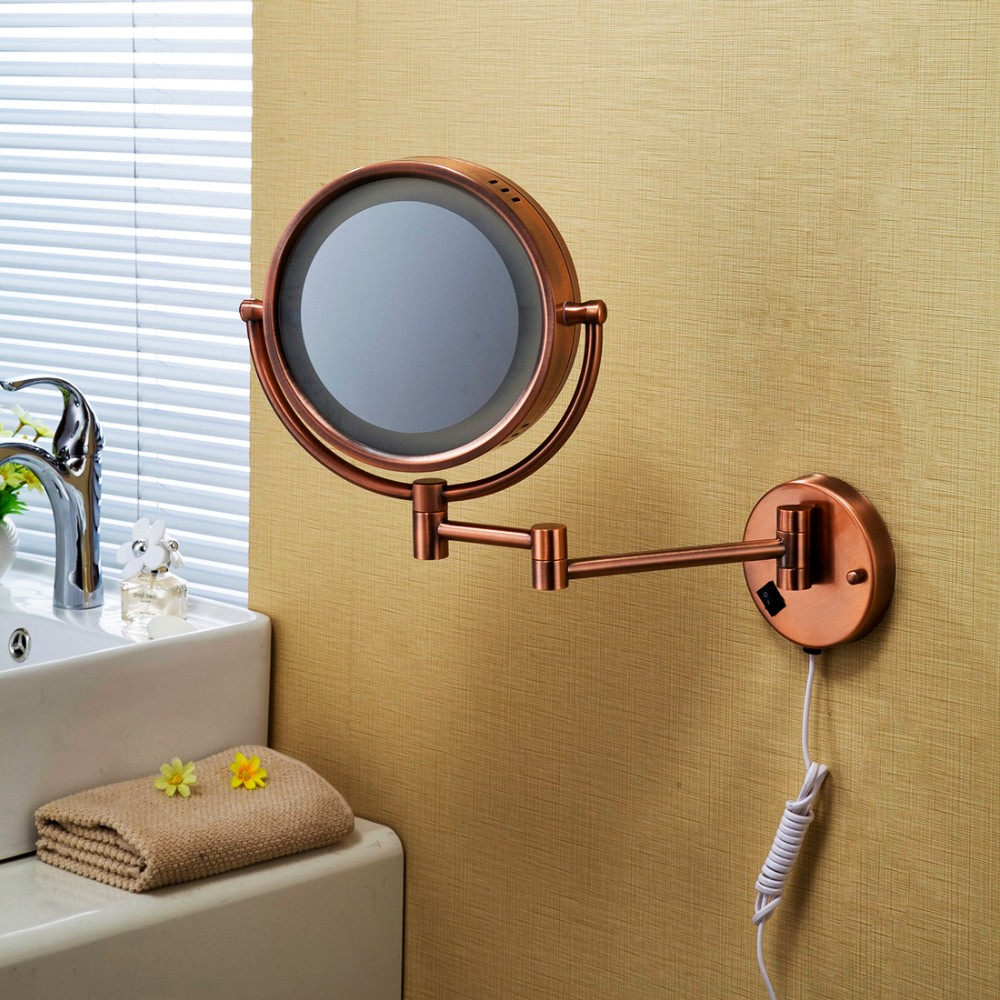 Modern Retractable Mirror Rose Gold Beauty Salon Wall Mirrors Led Makeup Mirror – Buy Wall Mirrors Led Makeup Mirror,led Makeup Mirror Bathroom Within Widely Used Makeup Wall Mirrors (Gallery 18 of 20)