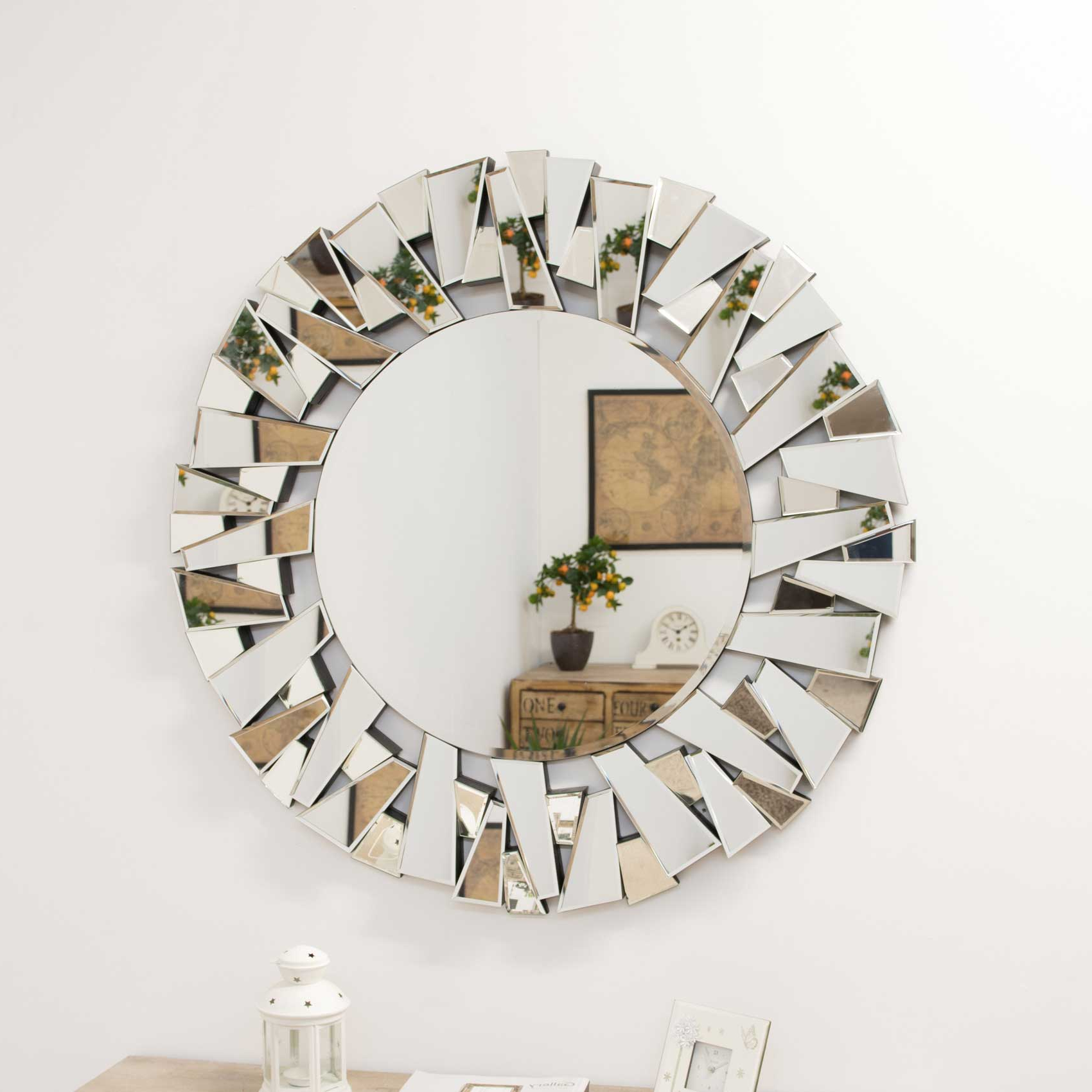 Modern Round Wall Mirrors For Well Known Details About Large Wall Mirror Modern Circular Multi Facet Sunburst All  Glass Venetian Round (View 10 of 20)