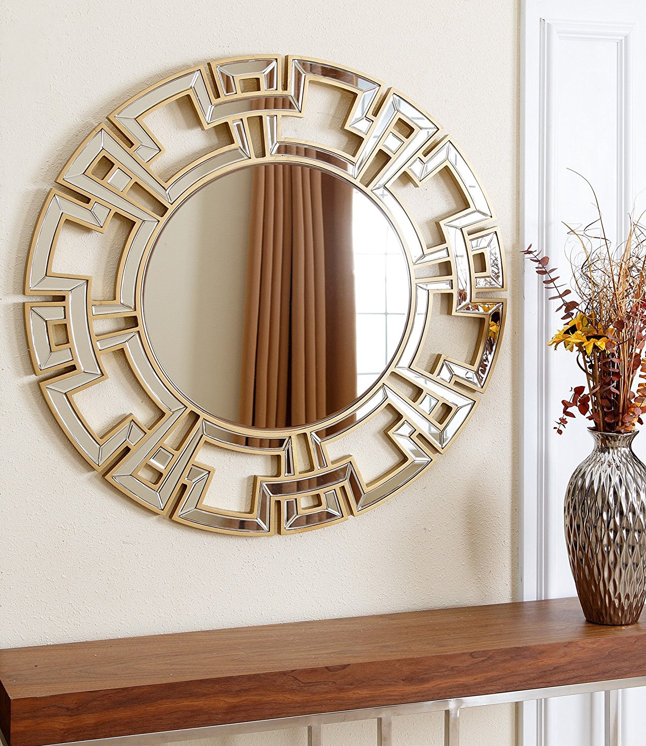 Modern Round Wall Mirrors With Most Recent Engaging Wood Frame Ledge Round Wall Mirror Smoke Modern (View 12 of 20)