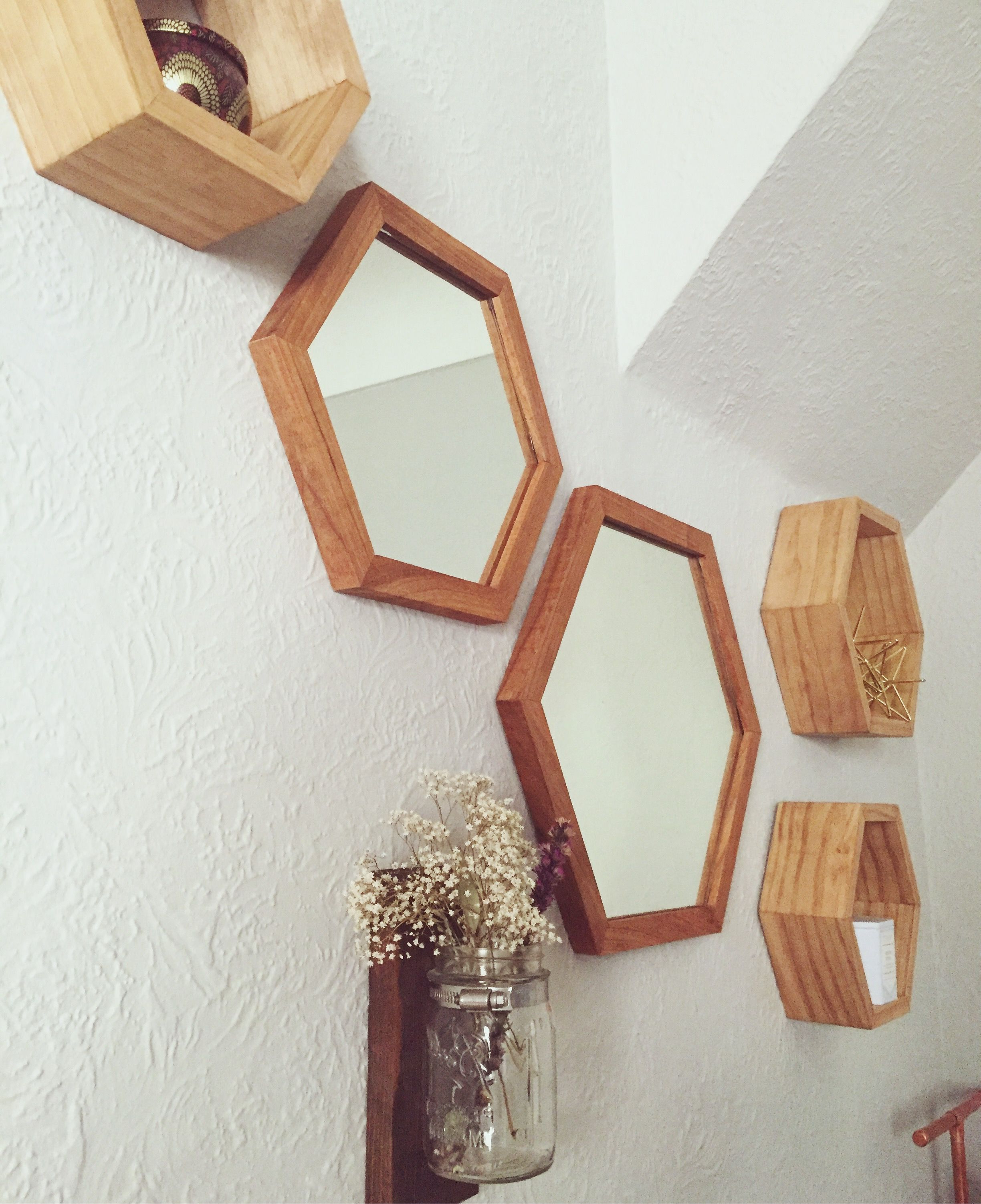 Modern Wall Decor: Hexagon Mirrors With Cherry Wood Frames Paired In Famous Cherry Wood Framed Wall Mirrors (View 19 of 20)