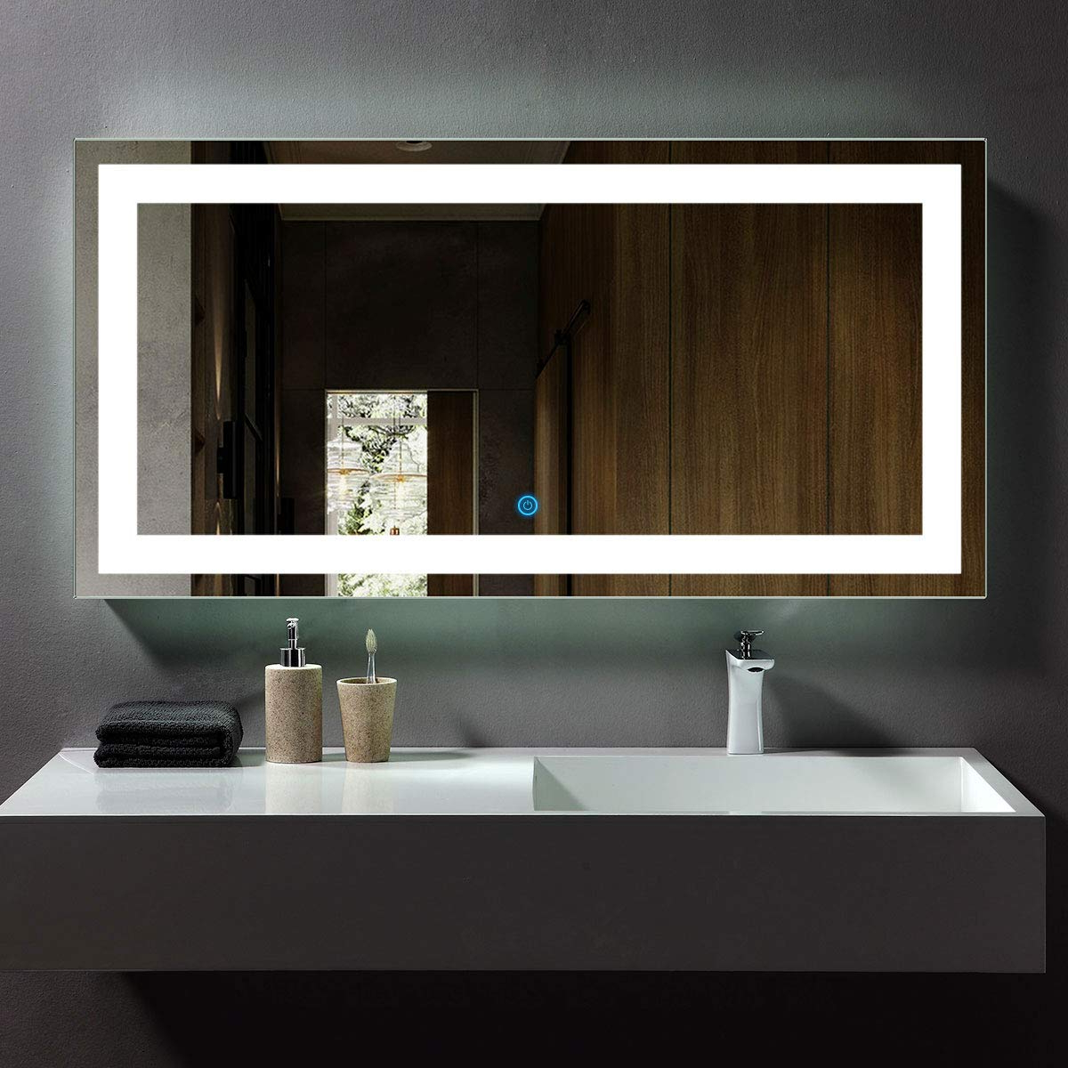 Modern Wall Mirrors In Popular Dp Home Led Lighted Rectangle Bathroom Mirror, Modern Wall Mirror With Lights, Wall Mounted Makeup Vanity Mirror Over Cosmetic Bathroom Sink 48 X (View 9 of 20)