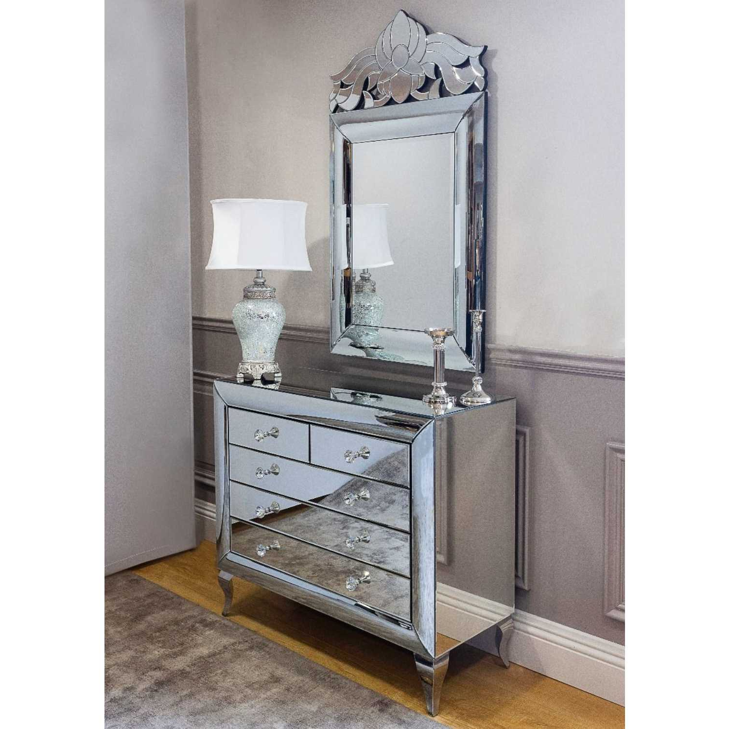 Monroe Mirror Glass Chest Of Drawers And Wall Mirror Set In Favorite Wall Mirrors With Drawers (View 15 of 20)