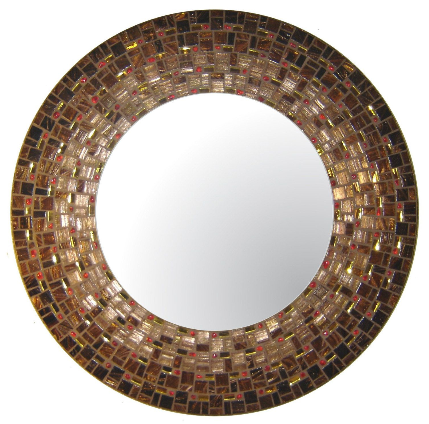 Moroccan Mosaic Mirror Brown Copper Gold & Red Throughout Most Recently Released Round Mosaic Wall Mirrors (View 12 of 20)