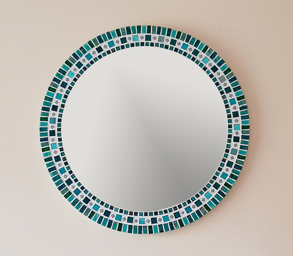 Mosaic Wall Mirror In Teal Green, Round Mirror, Bathrooom Mirror, Mosaic Wall Art, Wall Decor, Teal Home Decor, Green Wall Decor Regarding Well Known Mosaic Wall Mirrors (View 19 of 20)