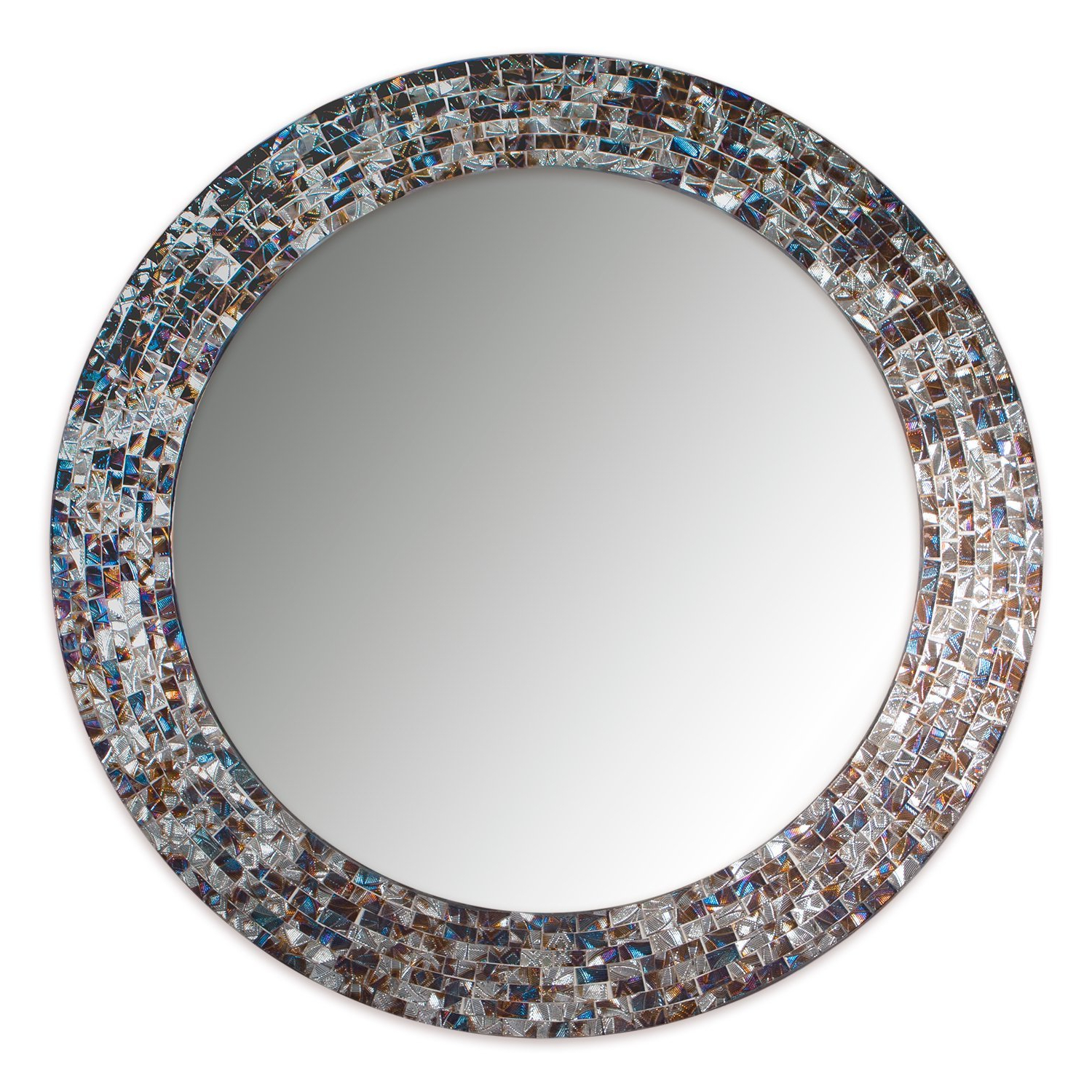 "Mosaic Wall Mirrors Throughout Best And Newest Decorshore 24"" Decorative Mosaic Glass Wall Mirror – Silver (Silver) (Gallery 13 of 20)"