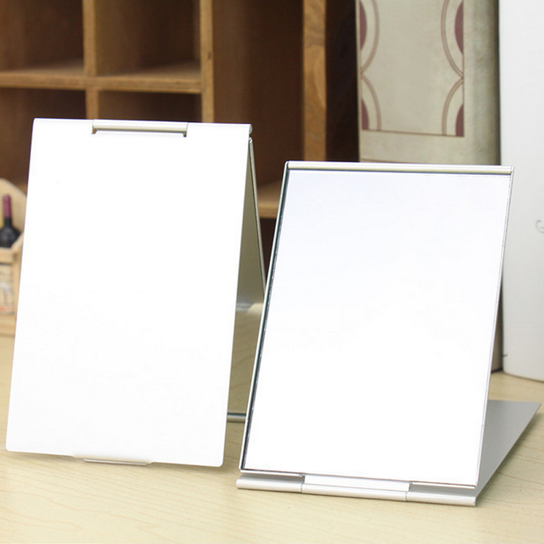 Most Current 4 Sizes Rectangle Silver Aluminium Alloy Cover Ultra Thin Foldable Makeup Unbreakable Pocket Cosmetic Mirror Decorative Bathroom Wall Mirrors Pertaining To Unbreakable Wall Mirrors (View 13 of 20)