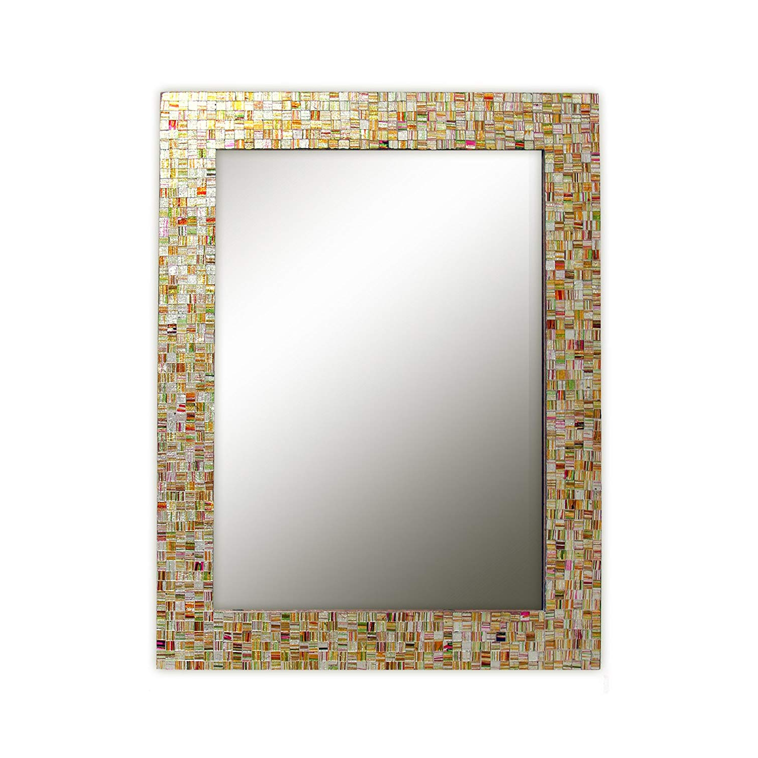 Most Current Amazon: Eclectic Bohemian Rhapsody Rainbow Mirror Golden For Mosaic Framed Wall Mirrors (View 3 of 20)