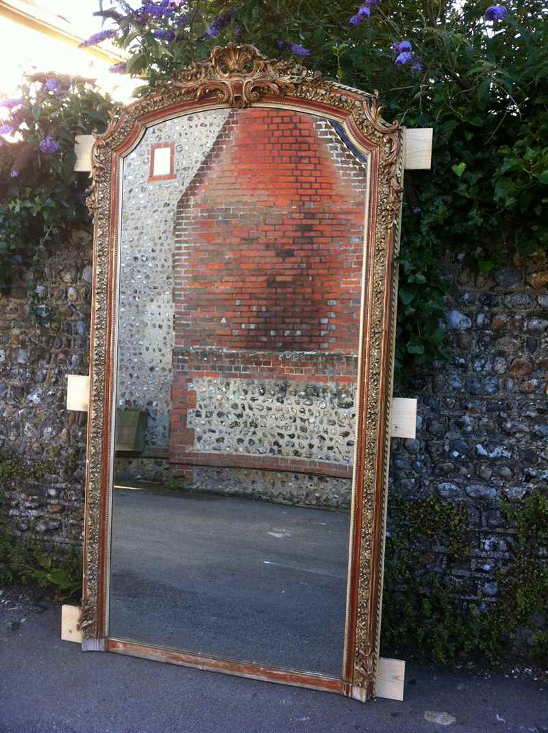 Most Current Antique Large French Gilt Ornate Wall Mirror Within Large Antique Wall Mirrors (View 4 of 20)