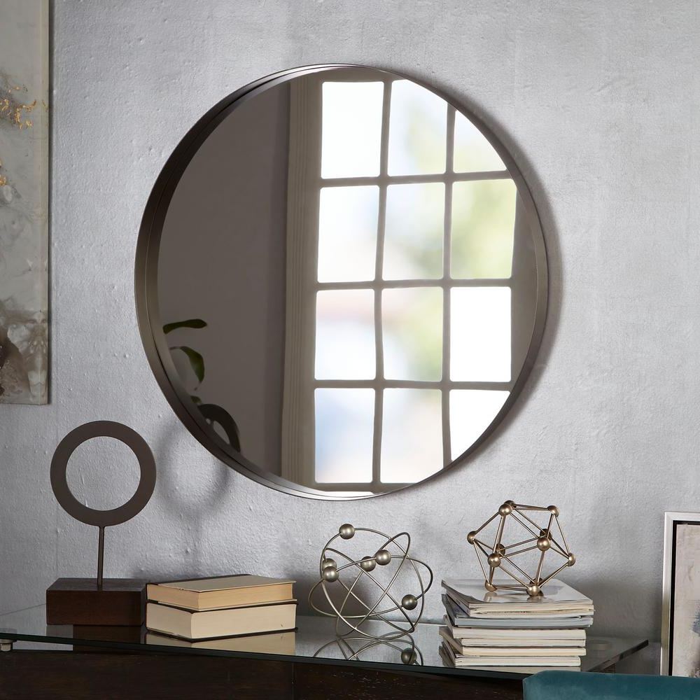 Most Current Arch Top Vertical Wall Mirrors Pertaining To Eagan Round Gunmetal Wall Mirror (Gallery 12 of 20)