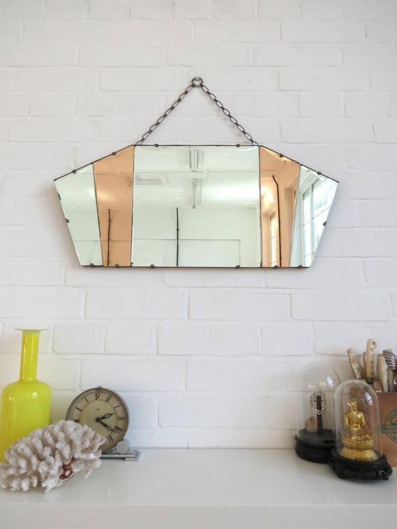 Most Current Art Deco Wall Mirrors With Regard To Vintage Art Deco Fan Shape Wall Mirror Bevelled Edge And Colored Glass (View 15 of 20)