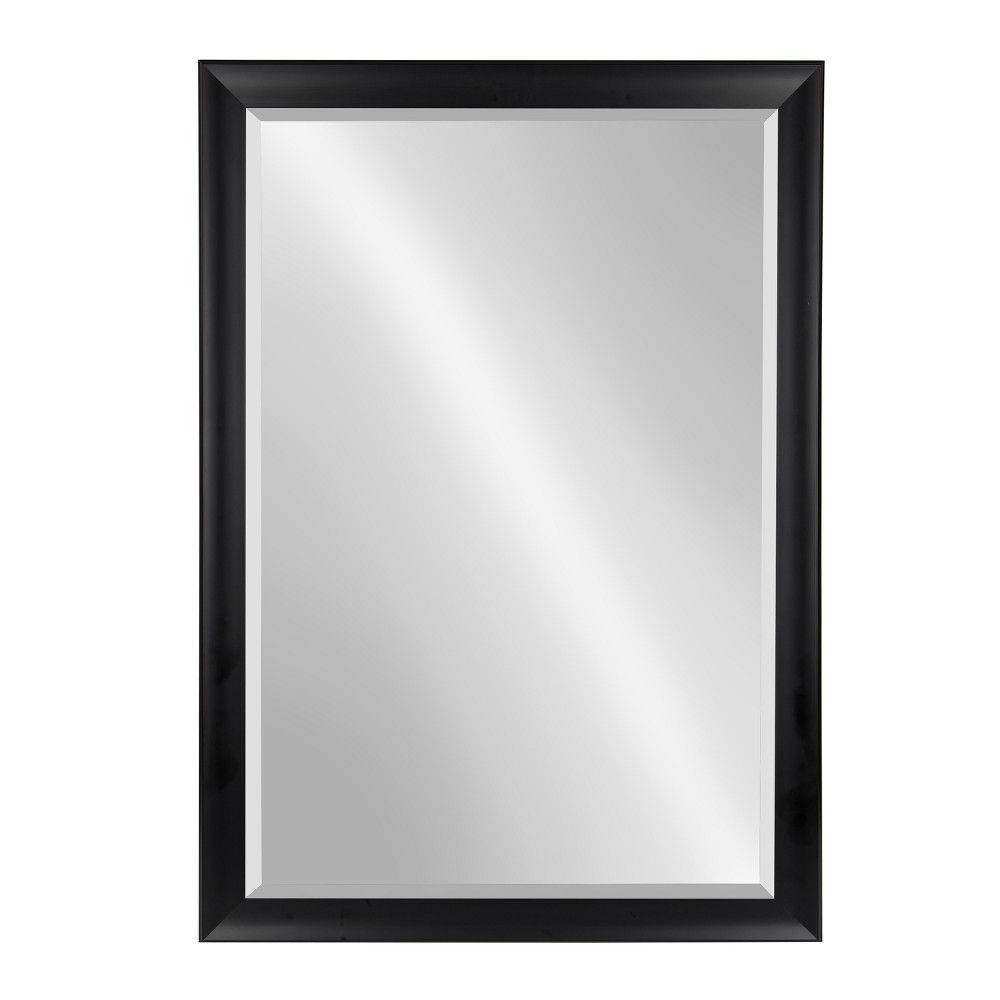 "Most Current Black Decorative Wall Mirrors Pertaining To Kate & Laurel 28""x40"" Scoop Framed Beveled Decorative Wall Mirror (View 16 of 20)"