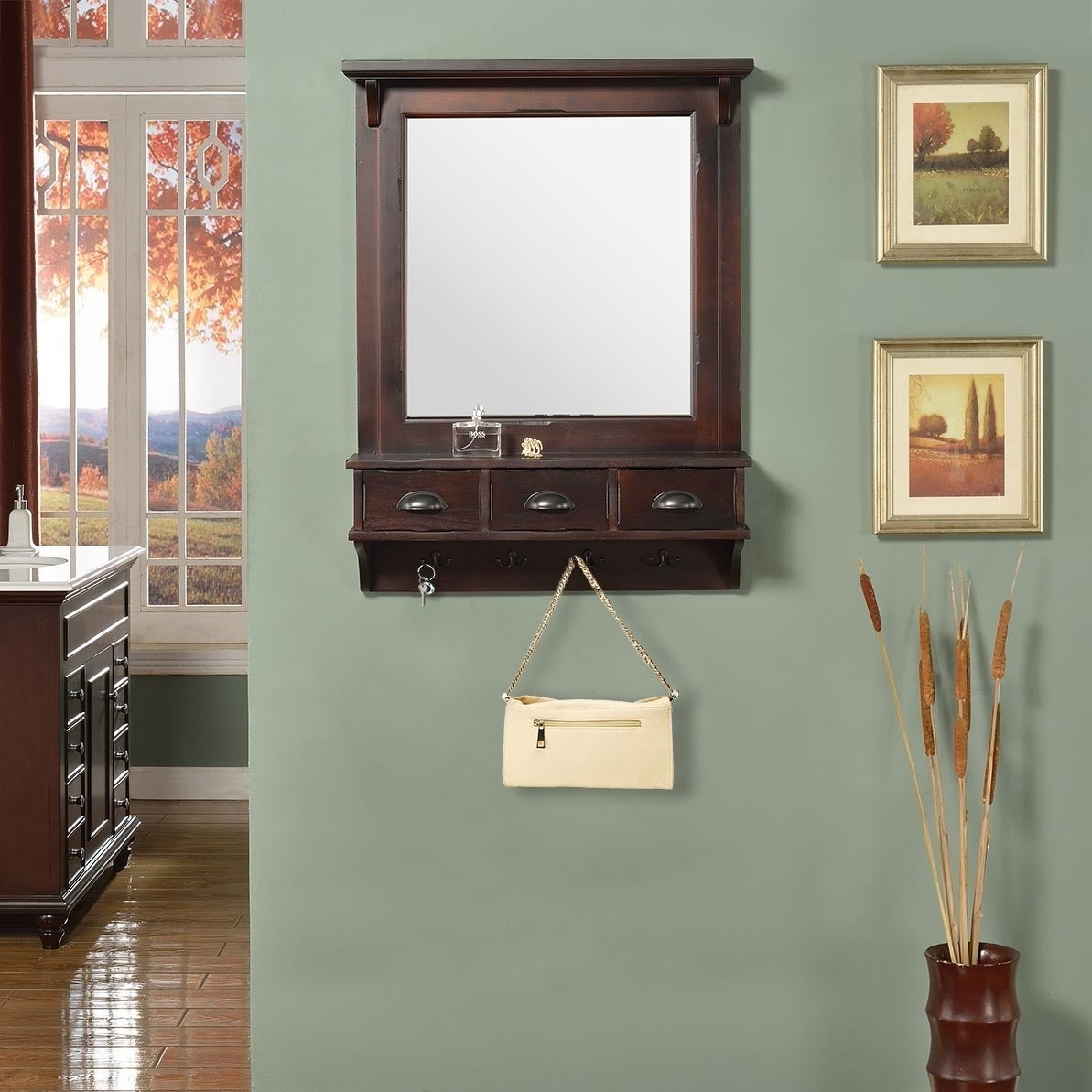Most Current Brown Wall Mirrors In Bombay Brown Wall Mirror With Drawers And Hooks – A/n (View 18 of 20)