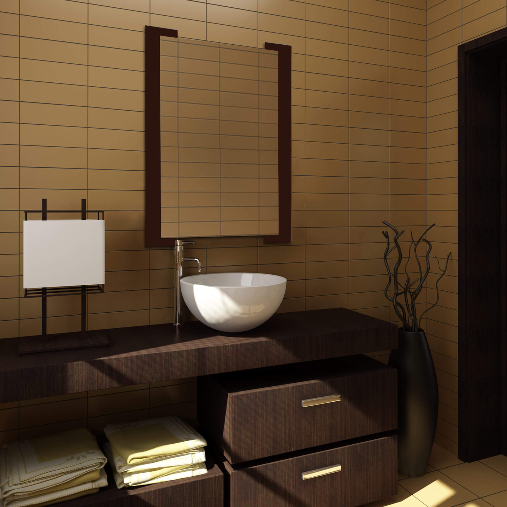 Most Current Brown Wall Mirrors Throughout Dark Brown Striped Wall Mirror (View 14 of 20)