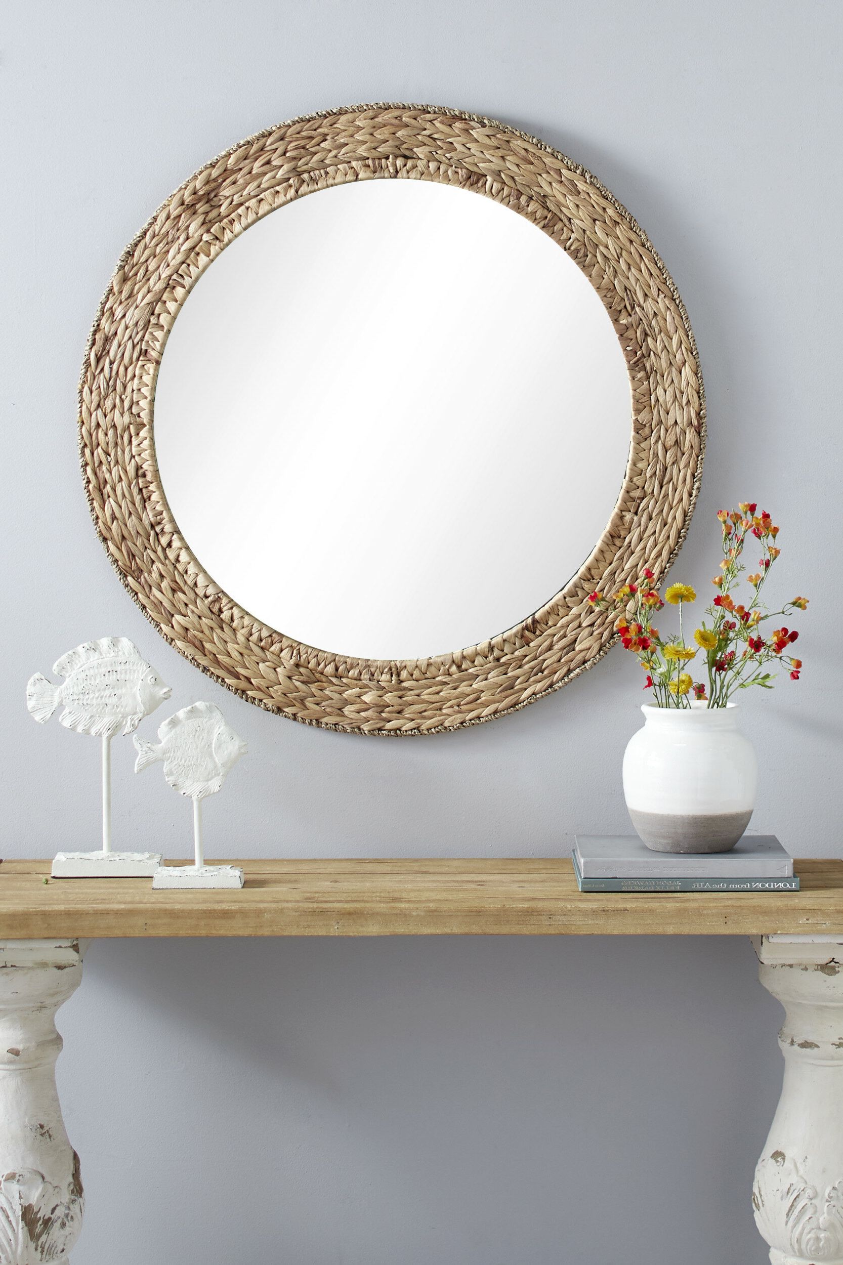 Most Current Chiara Round Handmade Wicker Rustic Accent Mirror Inside Mcnary Accent Mirrors (View 11 of 20)