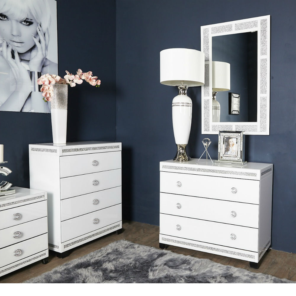 Most Current Cleo White Large Wall Mirror Rectangle Intended For Large Wall Mirrors For Bedroom (View 19 of 20)