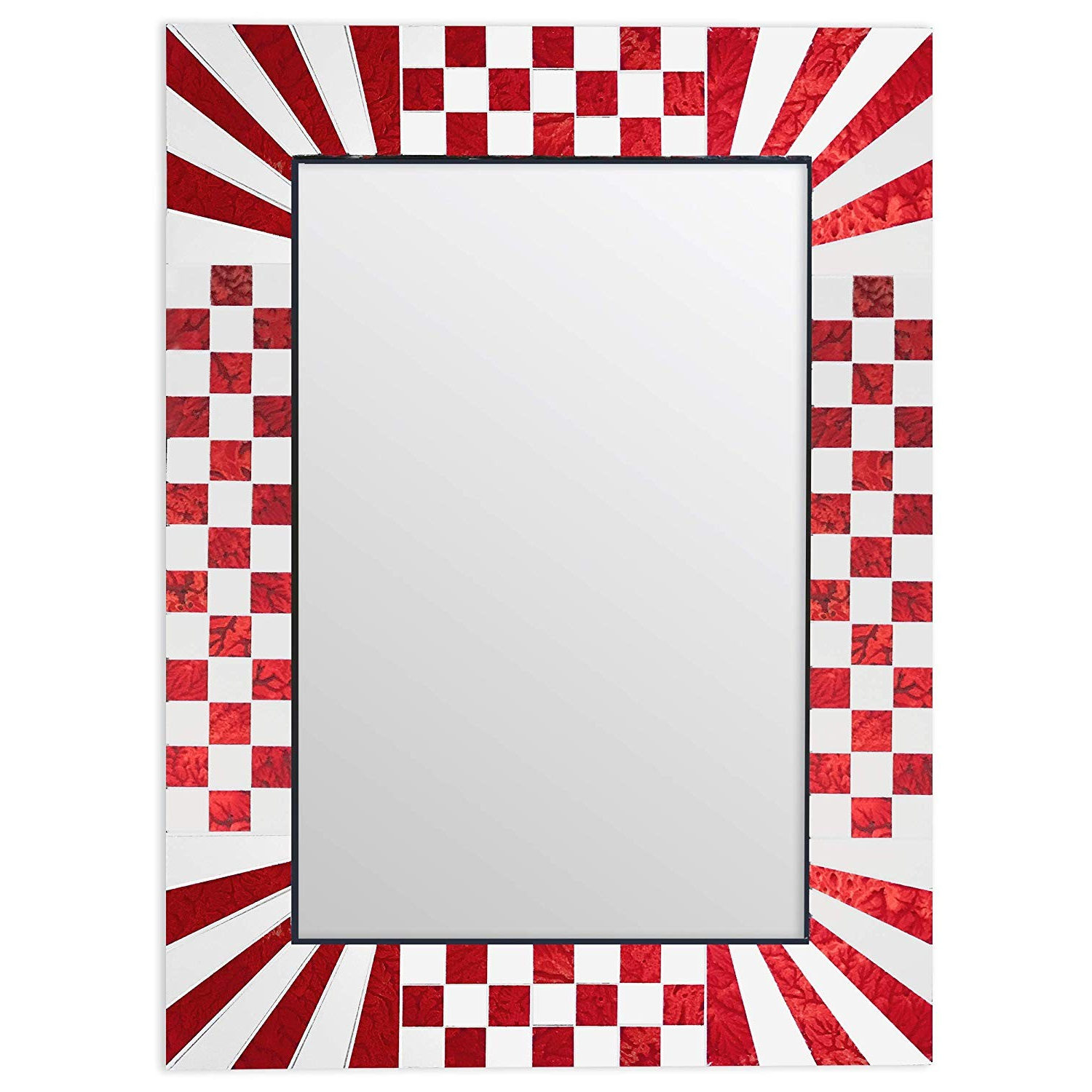 Most Current Colorful Wall Mirrors Throughout Decorshore South Beach Collection Red Decorative Wall Mirrors With (View 19 of 20)