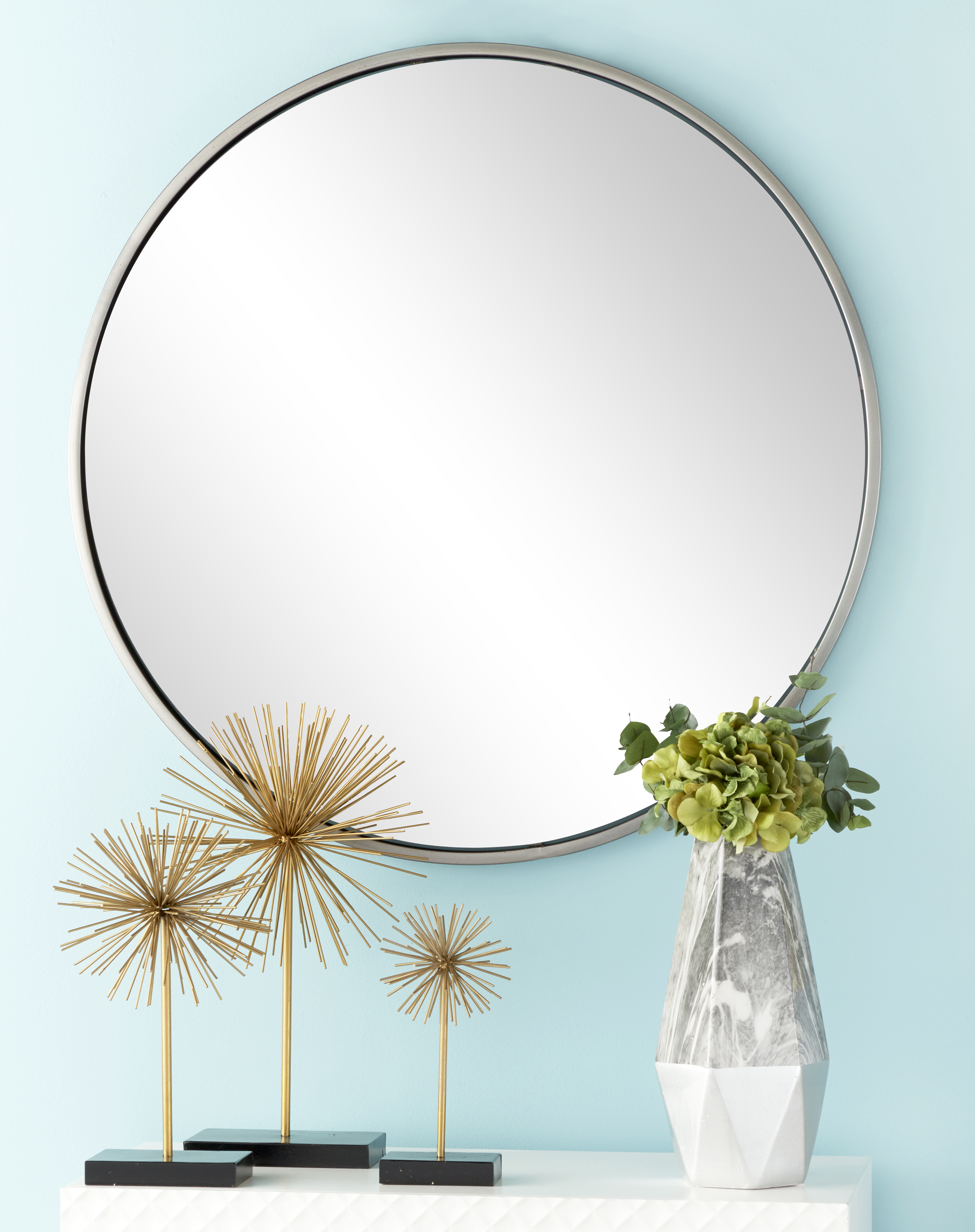 Most Current Cosmoliving Large Round Contemporary Wall Mirror In Metallic Silver Frame (View 12 of 20)