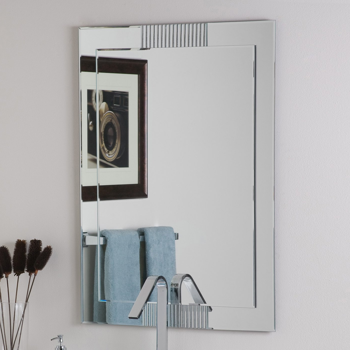 Most Current Decor Wonderland Francisca Large Frameless Wall Mirror For Frameless Bathroom Wall Mirrors (View 12 of 20)