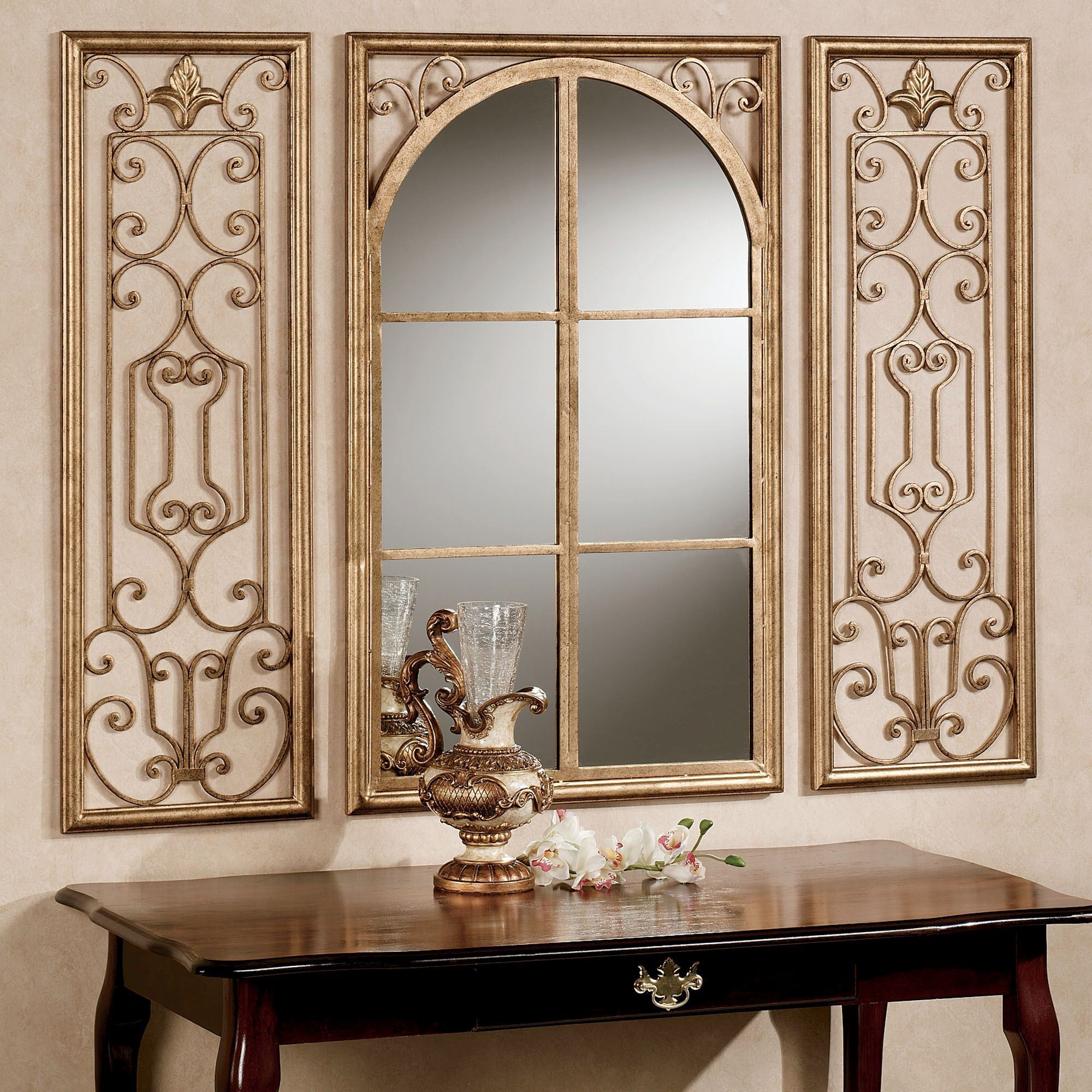 Most Current Decorative Wall Mirror Sets Inside Provence Antique Gold Finish Wall Mirror Set (Gallery 7 of 20)