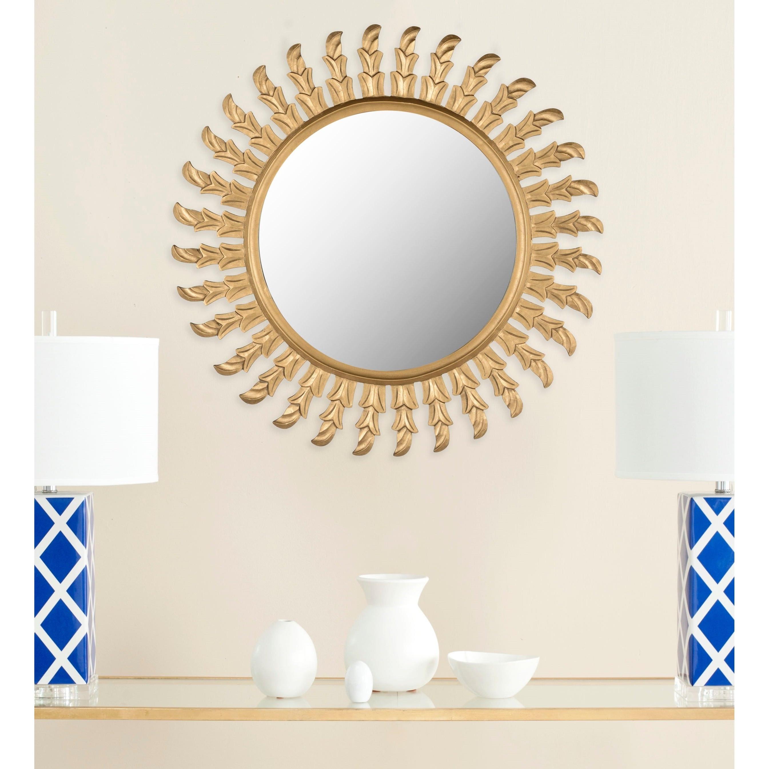 """Most Current Deniece Sunburst Round Wall Mirrors Within Safavieh Handmade Inca Gold 32 Inch Sunburst Mirror – 32"""" X 32"""" X  (View 10 of 20)"""