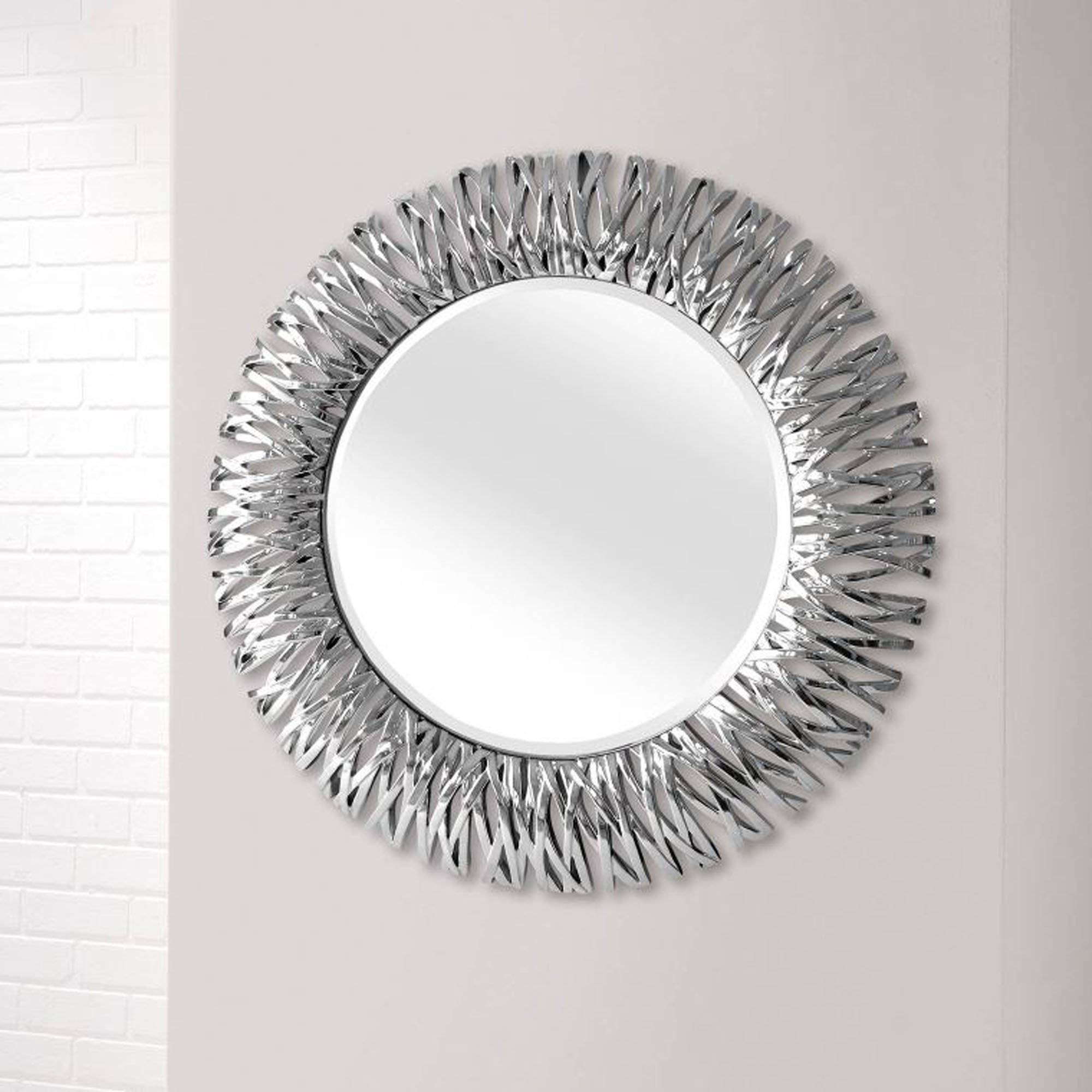 Most Current Detailed Chrome Silver Round Wall Mirror For Silver Wall Mirrors (View 2 of 20)