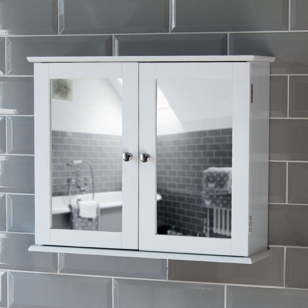 Most Current Details About Milano Bathroom Mirror Wall Cabinet Double Doors Mirrored  Cupboard Wooden White With Bathroom Wall Mirror Cabinets (View 12 of 20)