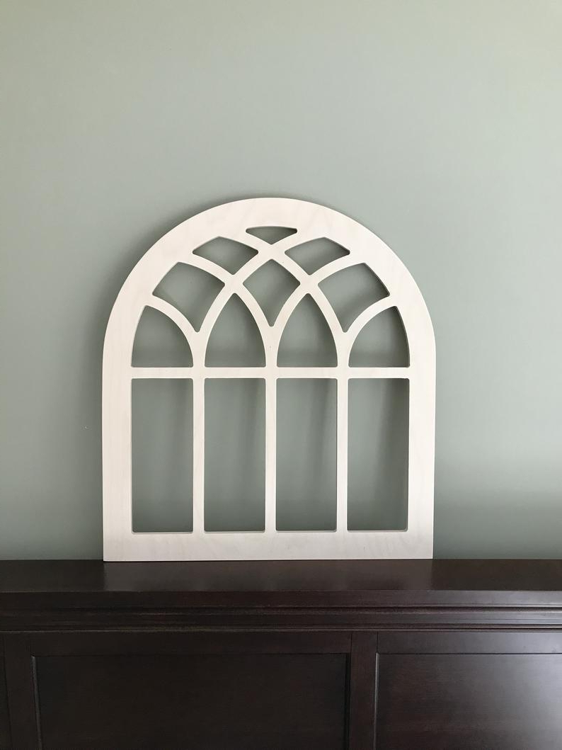 "Most Current Faux Window Wood Wall Mirrors In Arched Farmhouse Frame, Faux Window, Arched, Stained, Custom Arch, Wall Hanging Wall Decor, Paintable, Vintage Magnolia Inspired 26"" Medium (Gallery 16 of 20)"