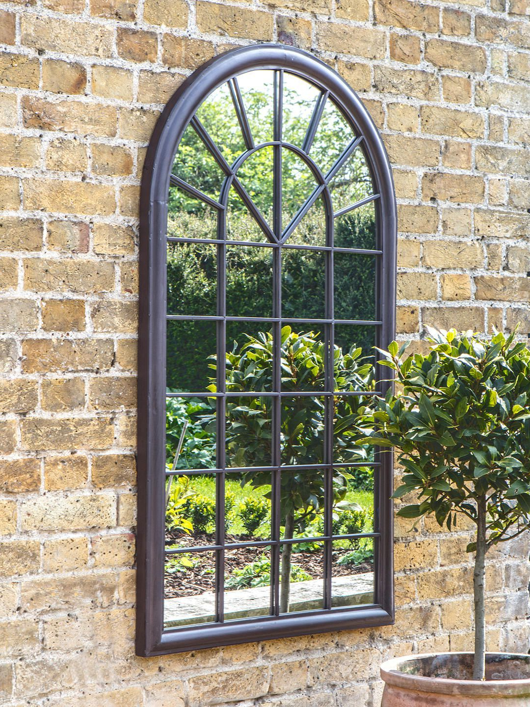 Most Current Faux Window Wood Wall Mirrors In Fura Outdoor Garden Wall Window Style Arched Mirror, 131 X 75Cm, Antique  Bronze (View 9 of 20)